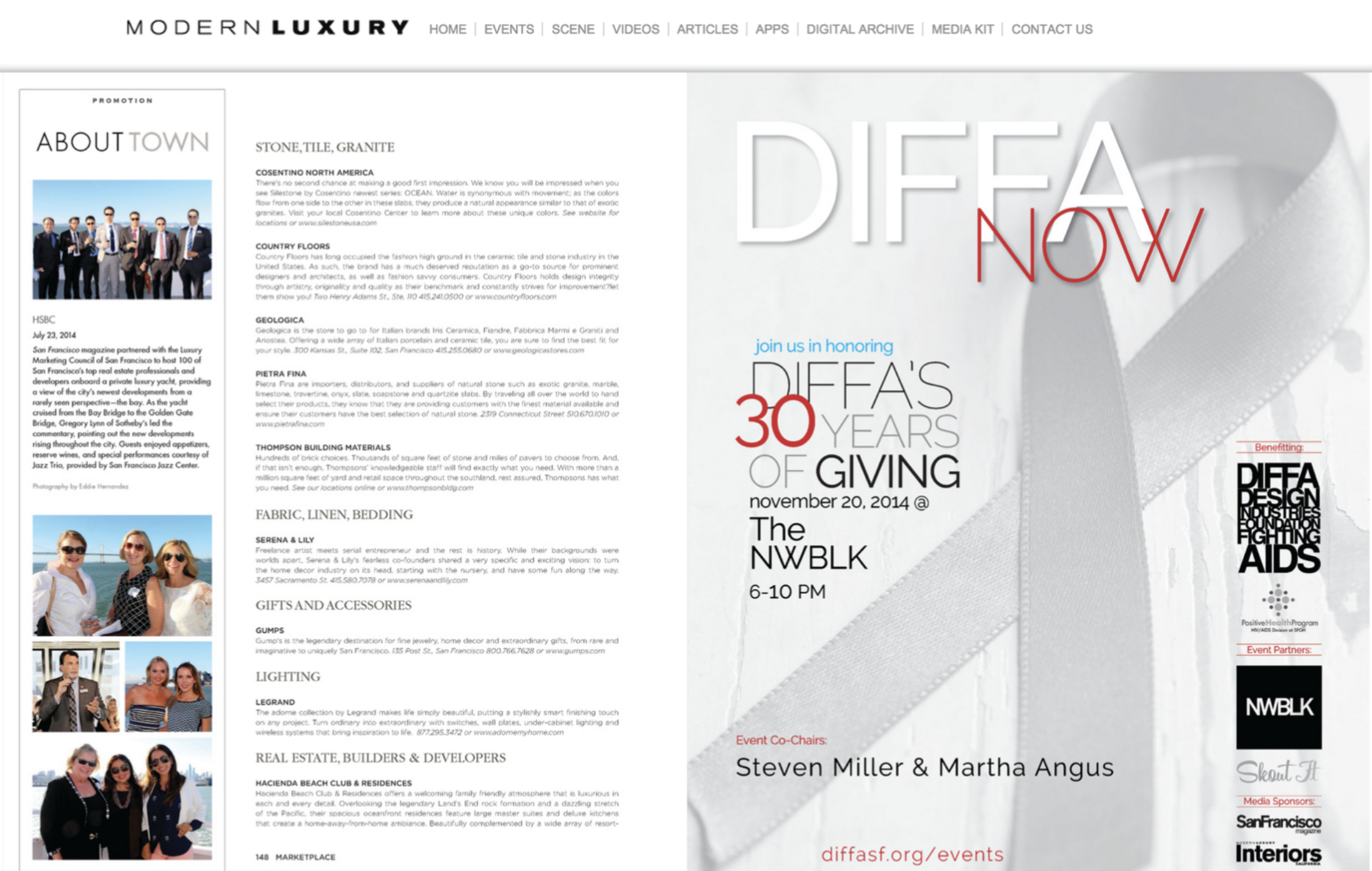 EDITORIAL DESIGN: For DIFFA's 30 Year Anniversary (Design Industry Foundation Fighting AIDS)