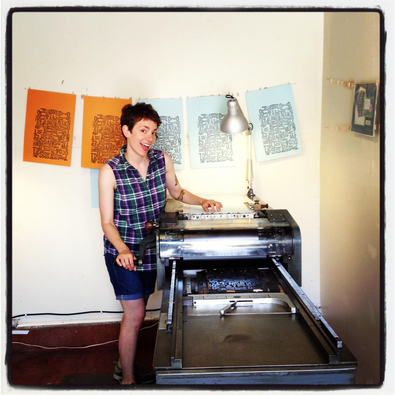 my friend brooke printing in the studio