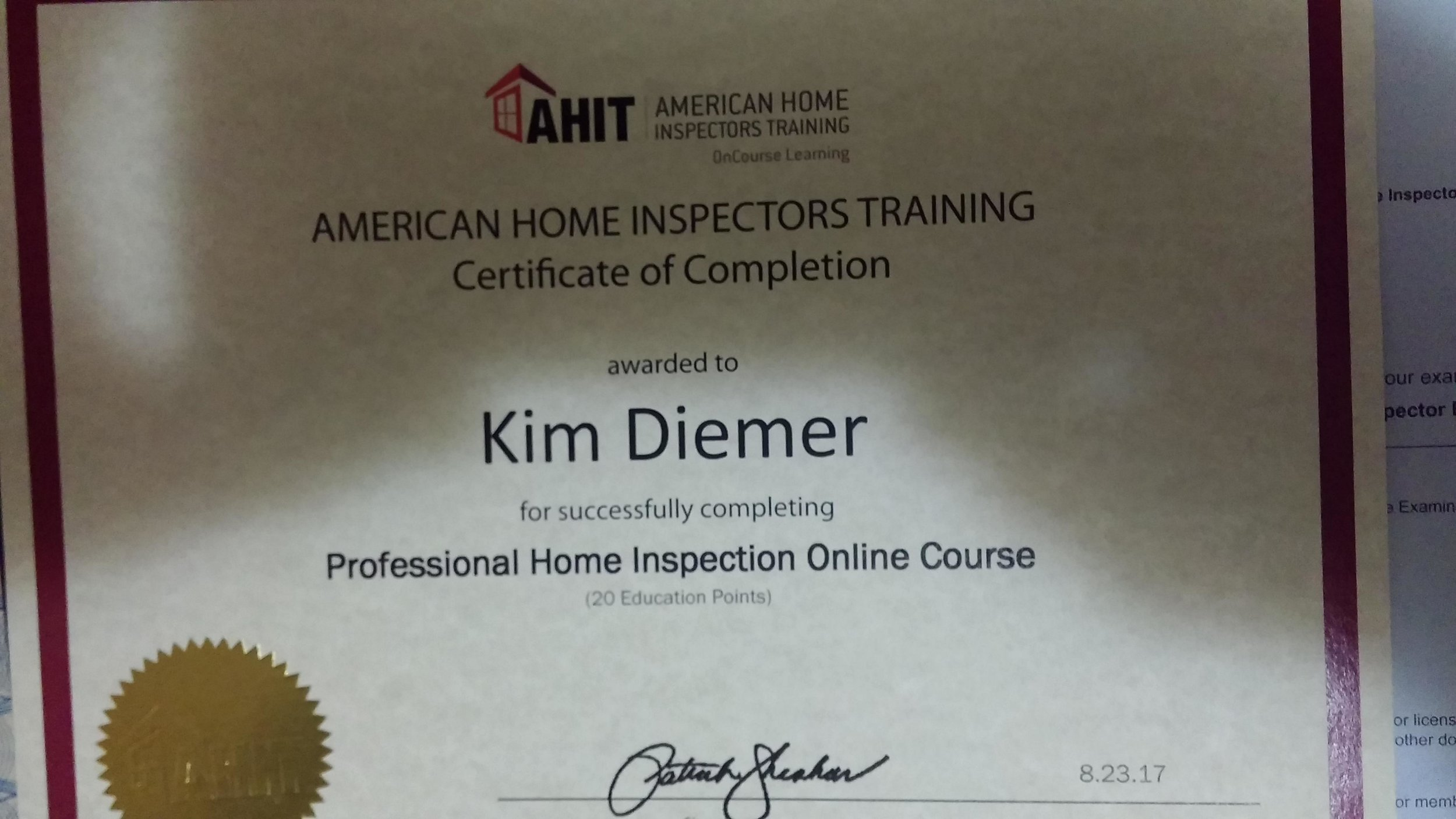 Copy of AHIT Inspection Cert