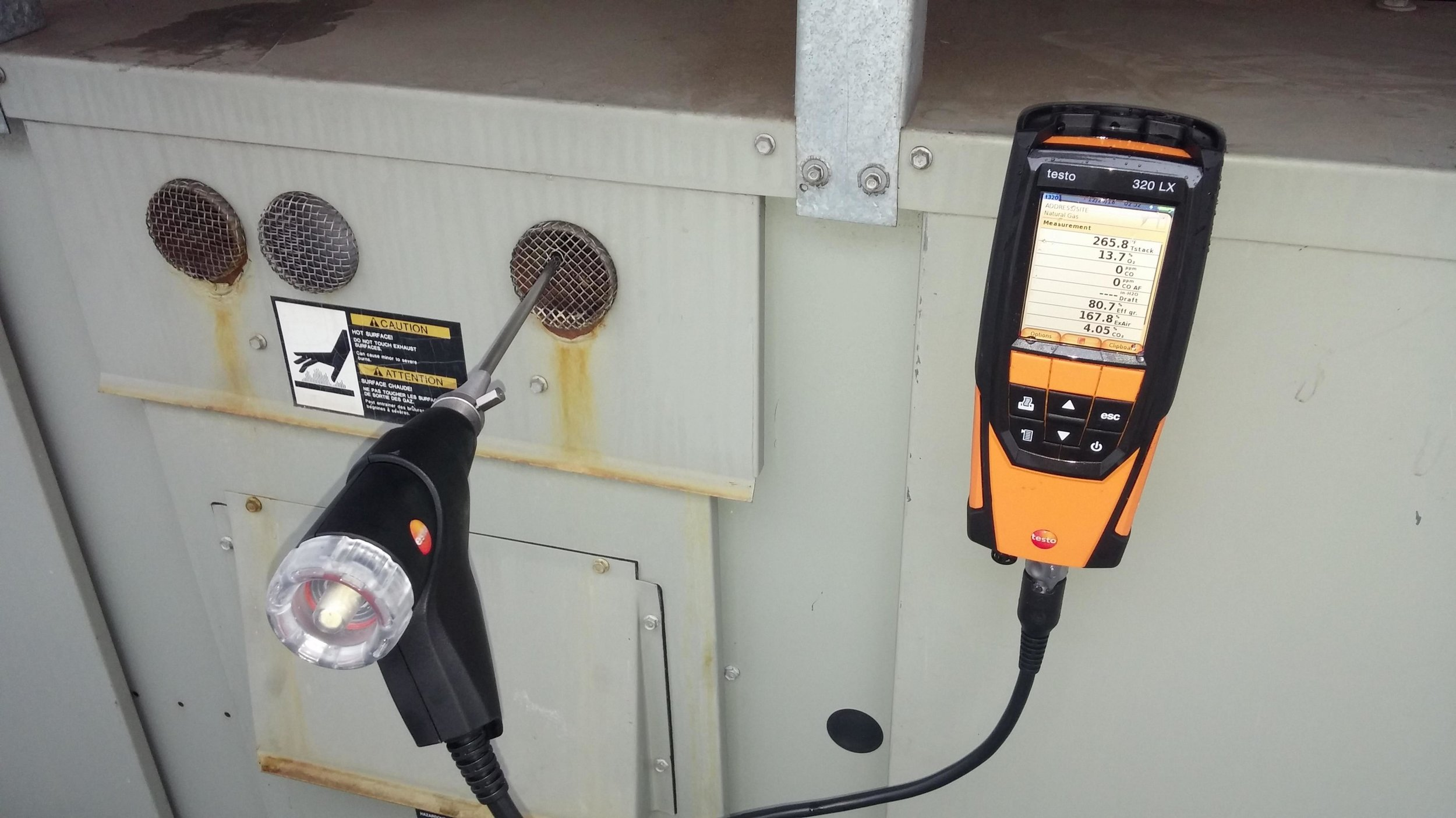 We test all types of commercial equipment - Combustion testing on gas fired equipment. We can diagnose how efficient or non efficient the equipment is operating. We can also tell if it has a cracked heat exchanger.