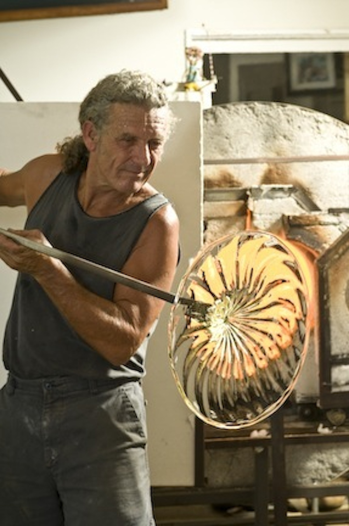 Rick spinning a rondel for some wall art.