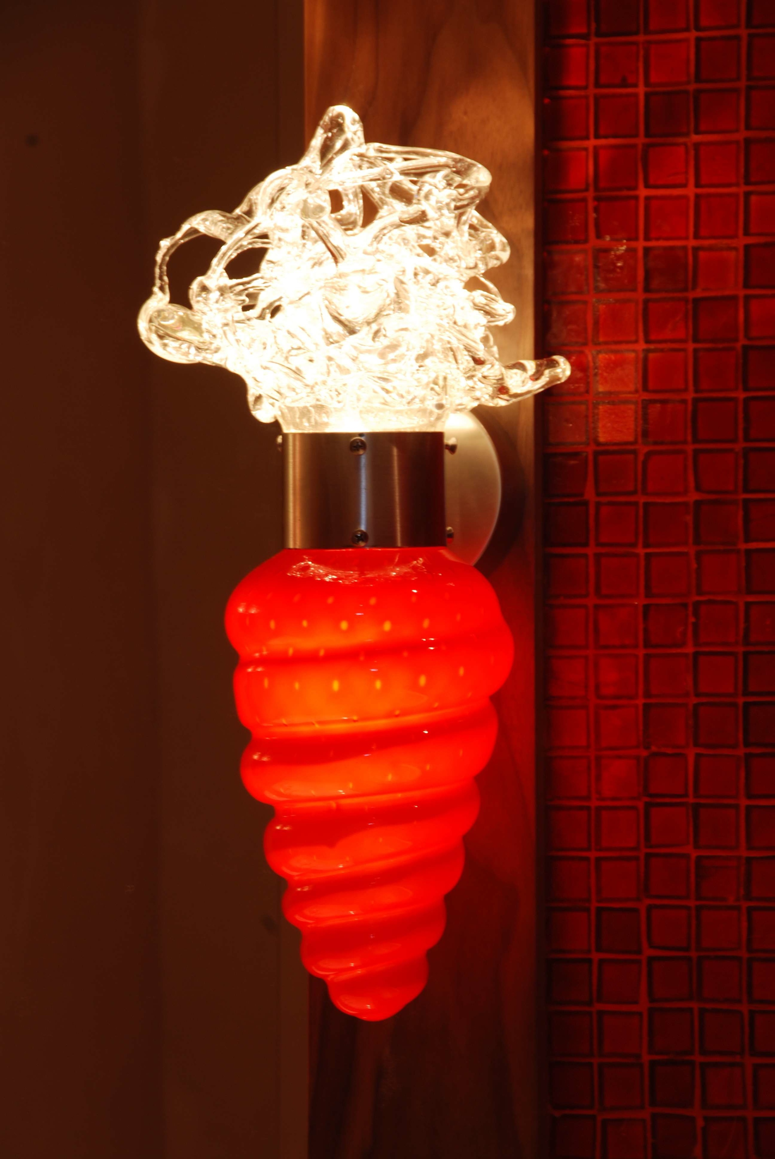 Ice Coral Wall sconce, custom Ruby and crystal glass all LED