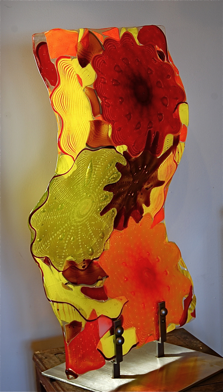 """Fused and Slumped Vertical sculpture 24"""" x  36"""" tall"""