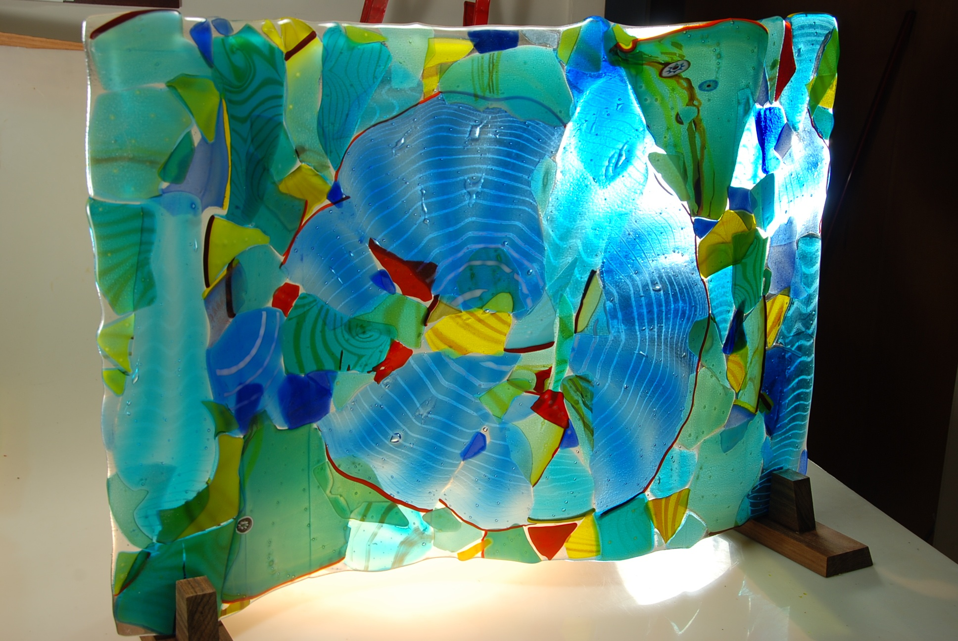 """Fused glass Wave Panel 24"""" x 36"""""""