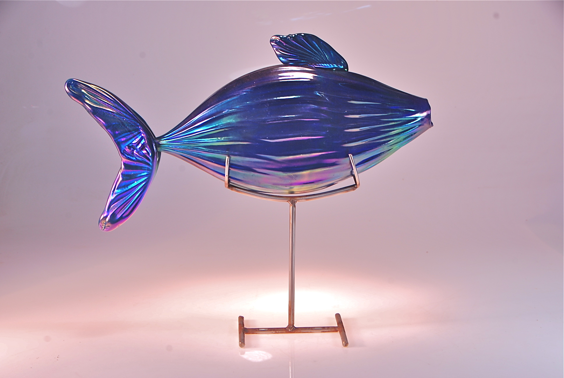 Fish on a stand,  stainless steel and glass 2014 Cobalt , irridized glass, artist rick strini
