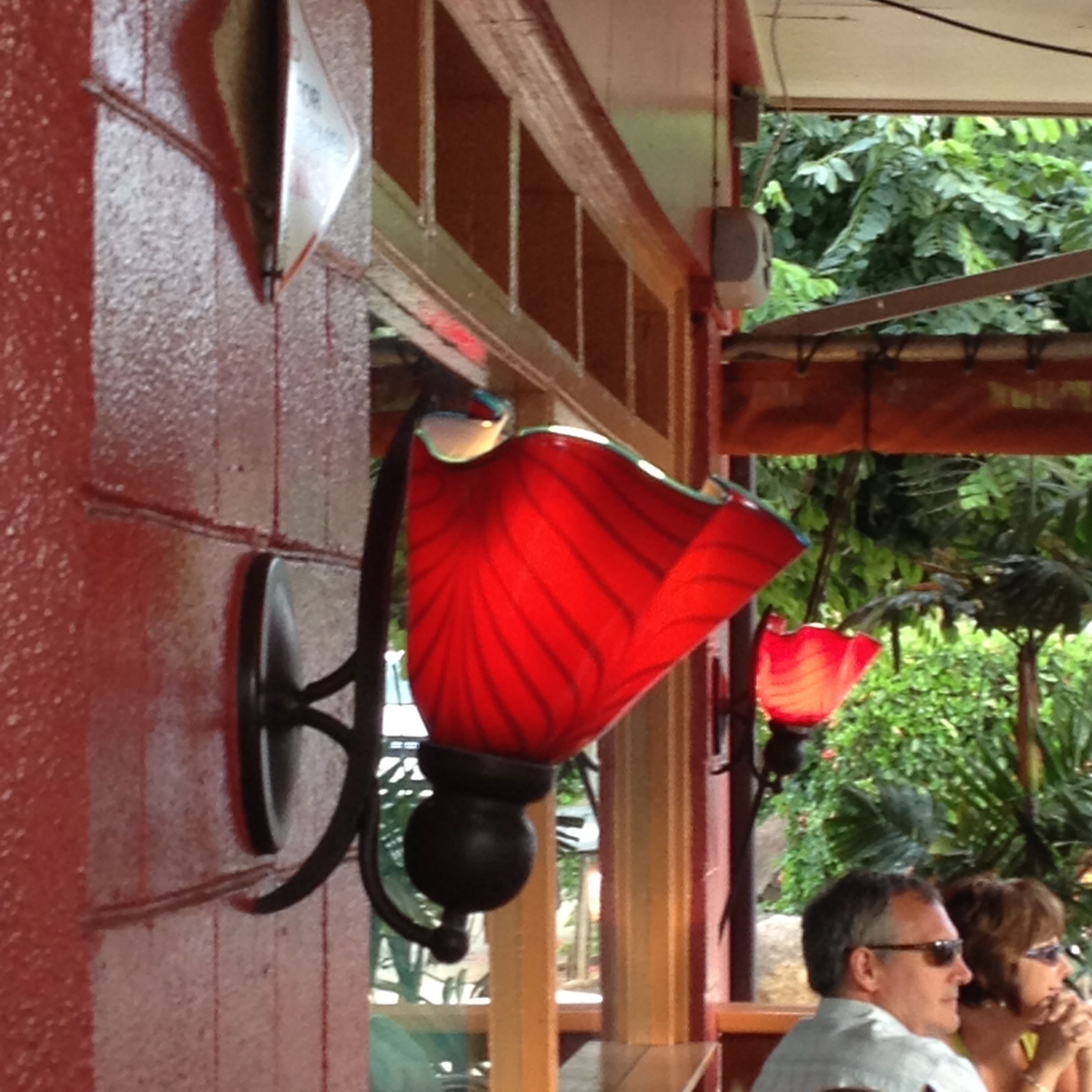 Ruby Ruffle Wall Sconces at Milagro's in Paia Maui, Hawaii.  good food, outdoor dining and fun in Paia. Strini Art Glass 2014