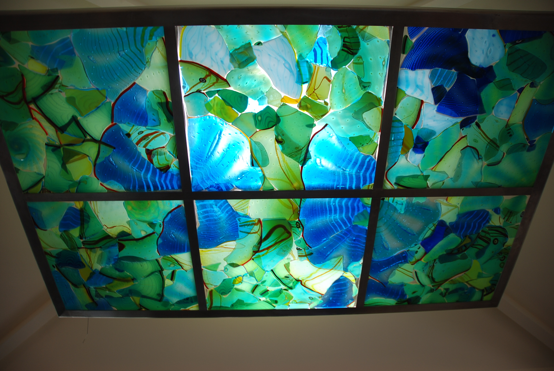 """Fused Glass Mosaic, 40"""" x 60"""" stainless steel and LEDs"""