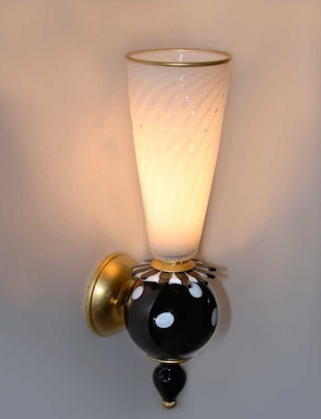 EXOTIC WALL SCONCE WITH FUSED ELEMENTS AND GOLD LEAFING. HAWAII GOV. ABERCROMBIE'S private residence.