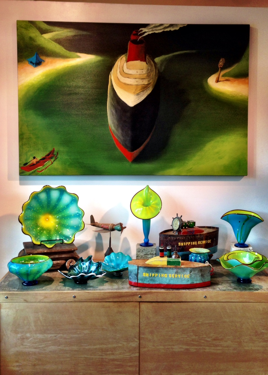 Another shot of Doug Britt's painting and small sculptures at the Gallery Ola's at Hanalei, Hawaii.2014