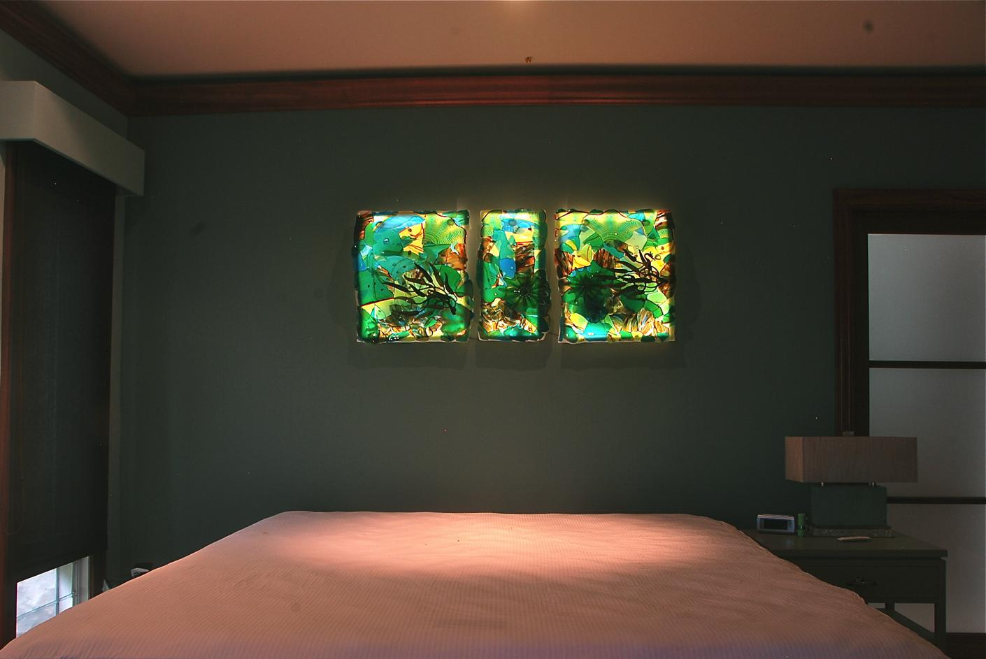 Triptych Fused, slumped glass, with 3D applied elements. , blown glass by rick strini and torchwork by j.Nielsen