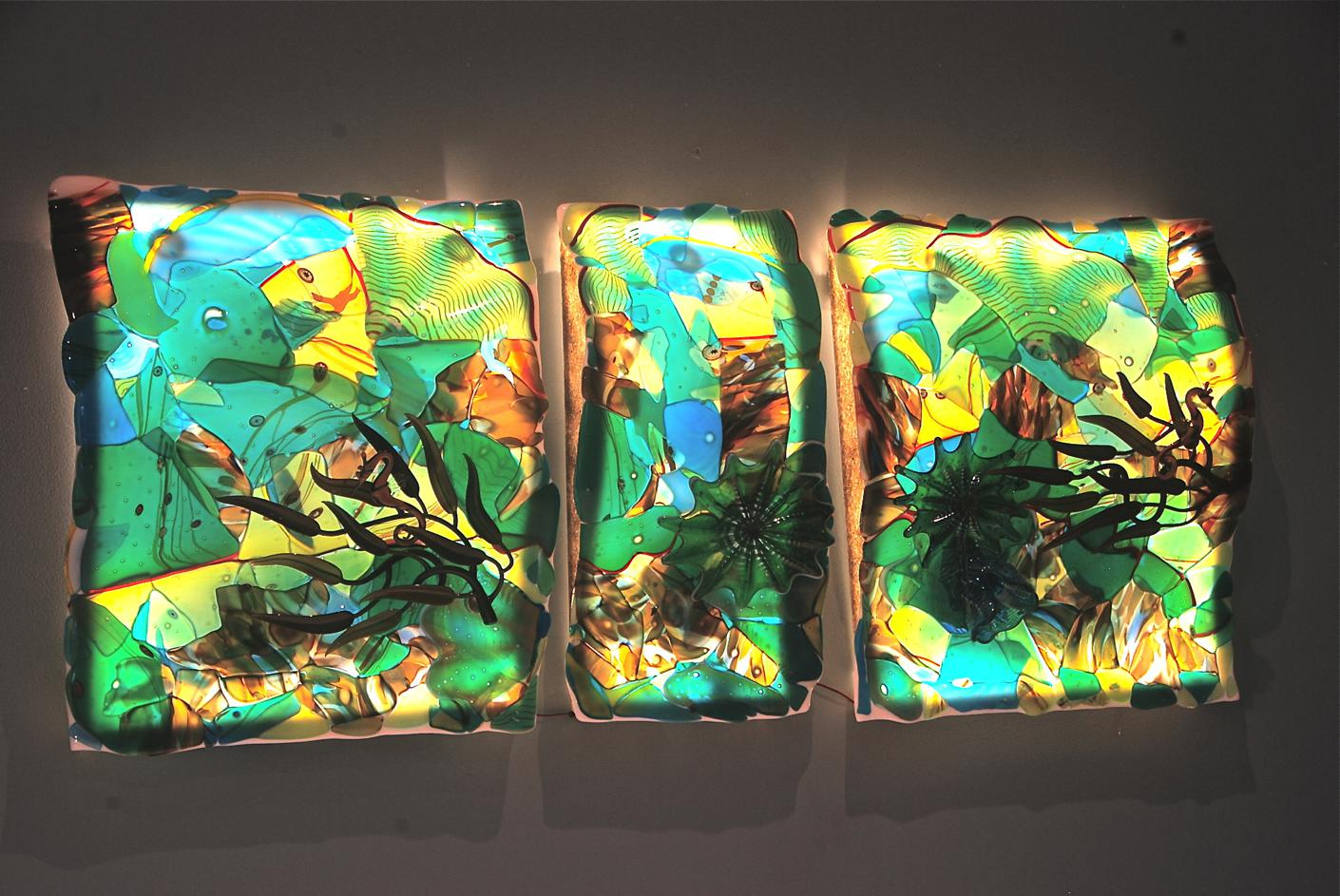 ch Fused, slumped glass, with 3D applied elements. , blown glass by rick strini and torchwork by j.Nielsen