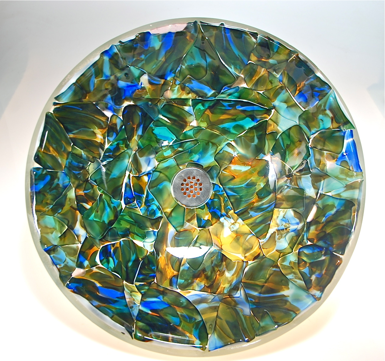 All new Vessel Sink with Adventures in Paradize glass mosaic of recycled blown elements.