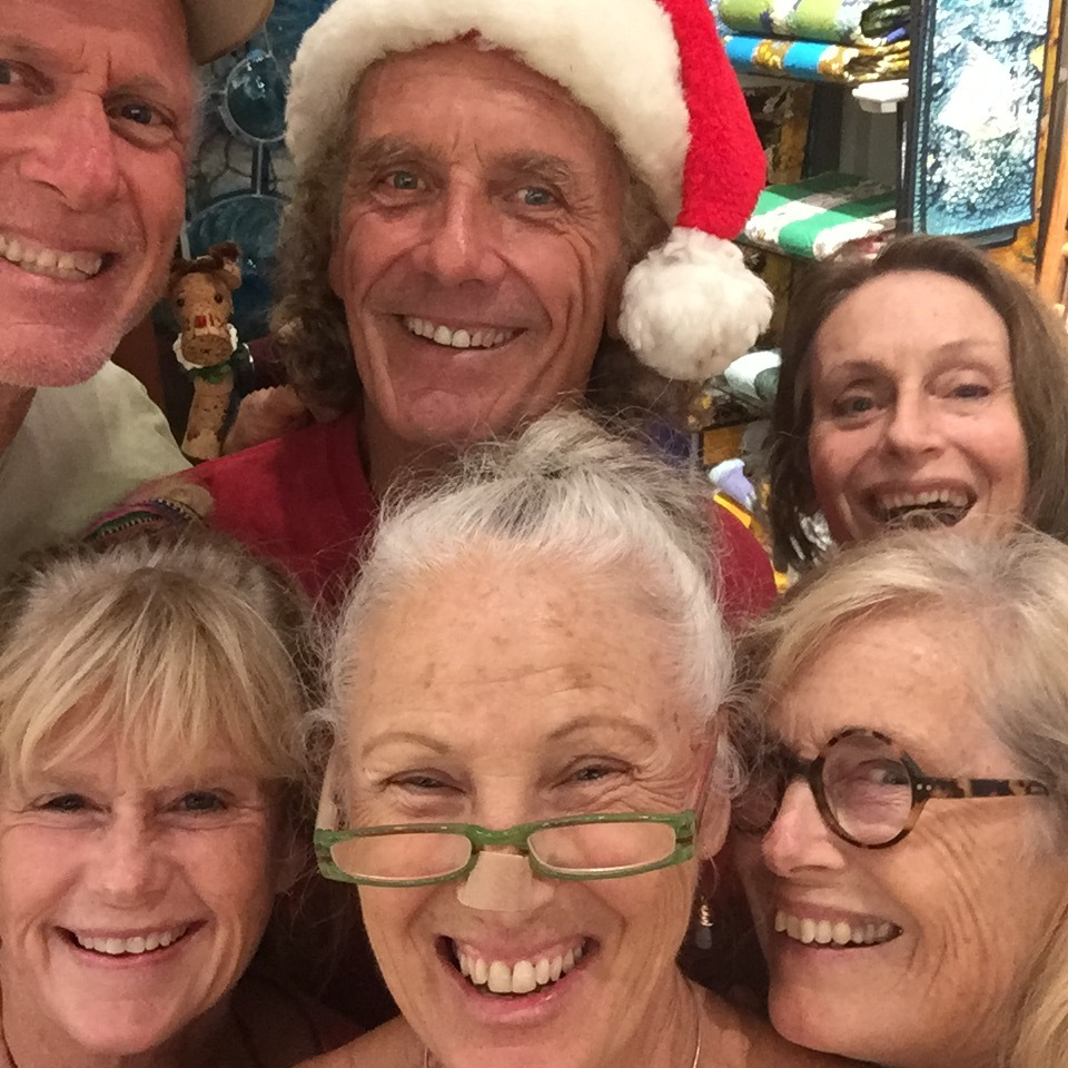 Our Display committee for the Maui Crafts Guild having a blast in this selfie while decorating for the Holiday season at the Guild in Paia, Maui. Left top to right, Barclay Hill, Rick Strini, Juliette van Dyke, bottom, Nancy Chesick, Harriette Alms, Arabella Ark. 2015