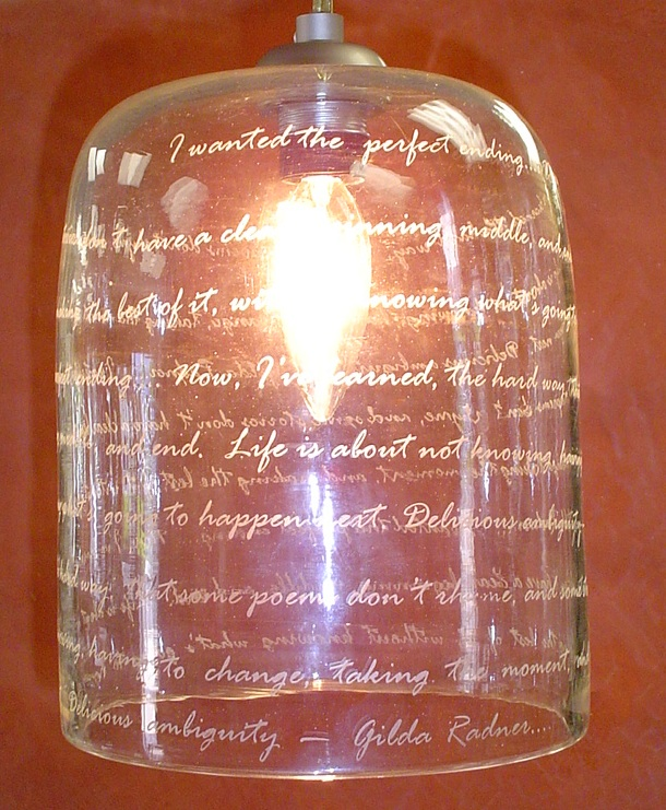 Poetry by Gild Radner,  Collaboration with Carole Ellison,  Strini Art Glass 2014