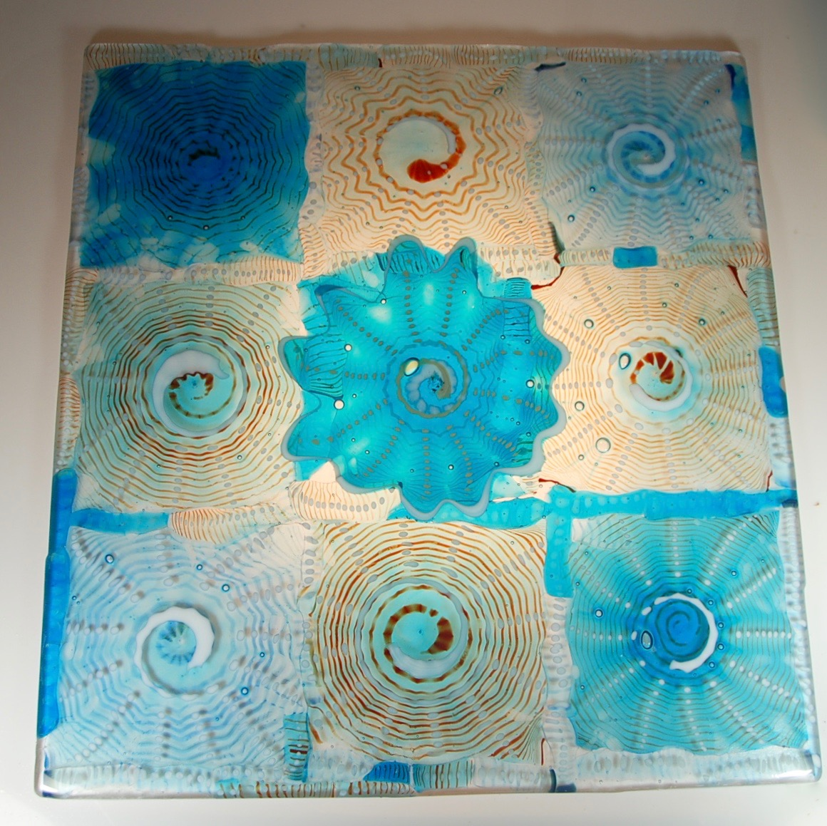"""24"""" x 26"""" Blown Rondels, then cut and drilled and finally fused."""