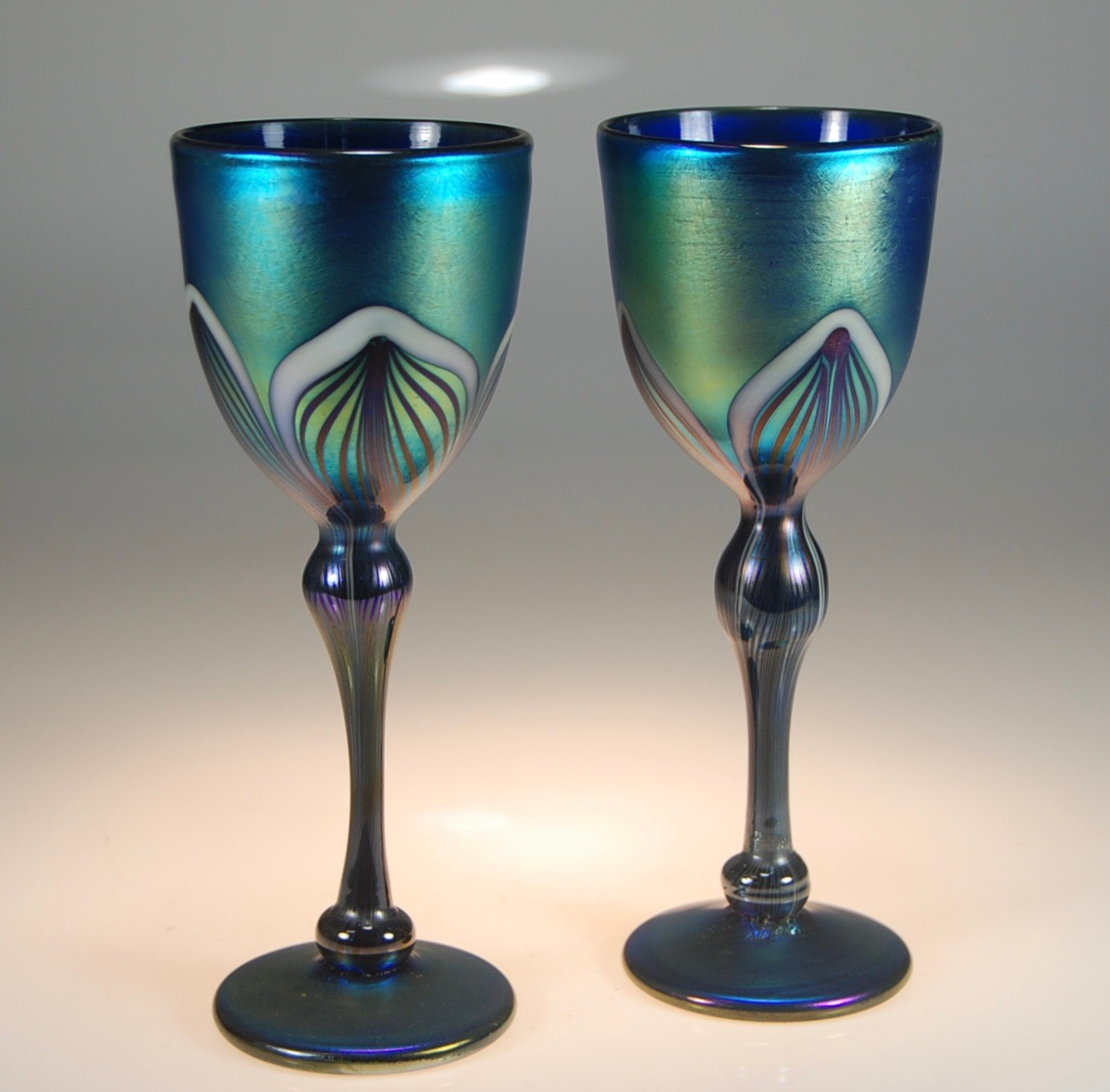 Just sold these Blue Luster decorated Goblets . strini art glass  2016  Maui