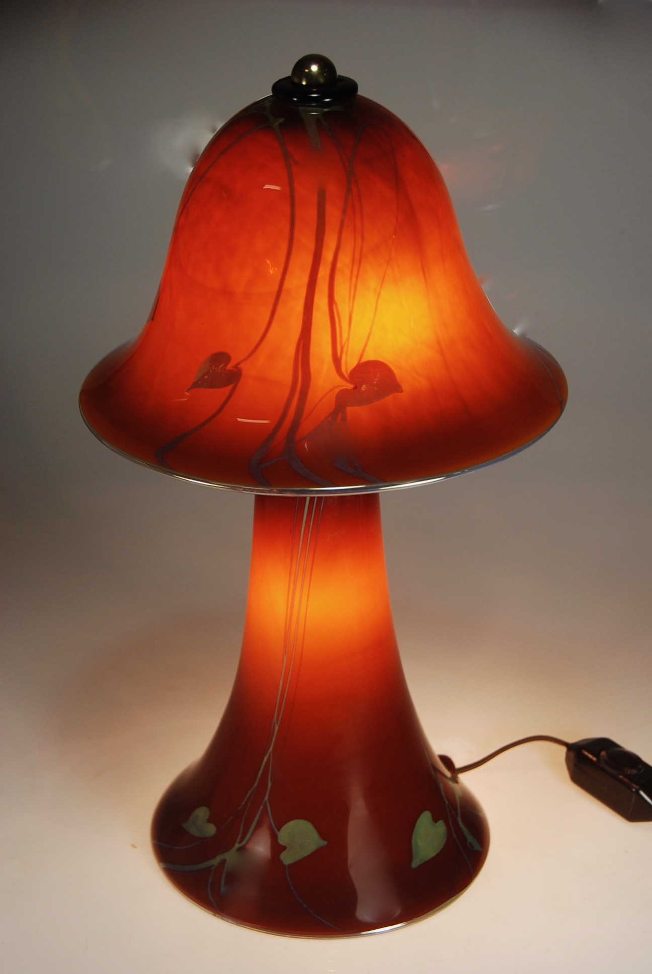 Amber with Silver Hears and vines bedside lamp. strini art glass2017