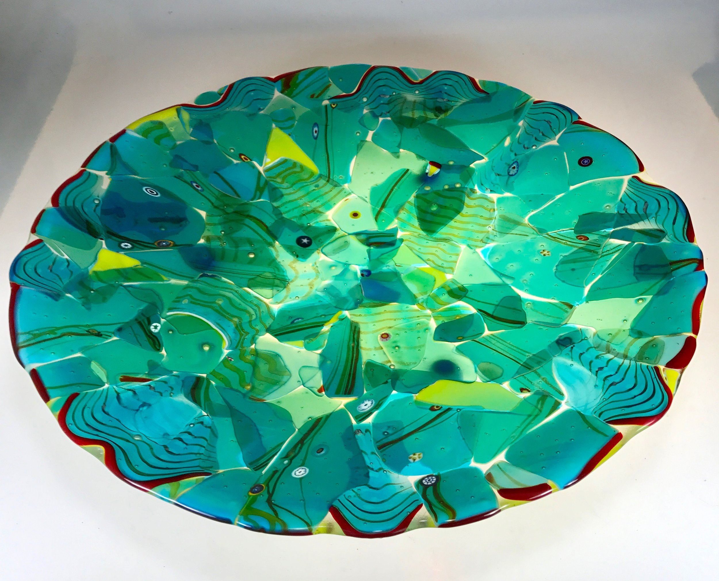 """""""Adventures in Paradise"""" Blown artglass and hand rolled art glass fused and slumped mosaic. Unique to Strini Art Glass. 2017"""