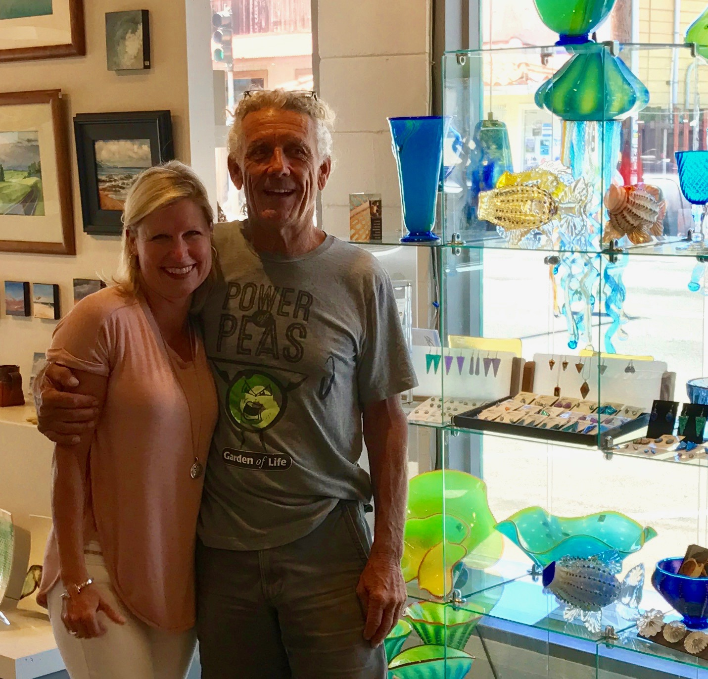 very fun and sweet client, Tammy from Georgia, happy with her purchace of the newDichroic Glass Jewelry from Strini Art Glass  2017