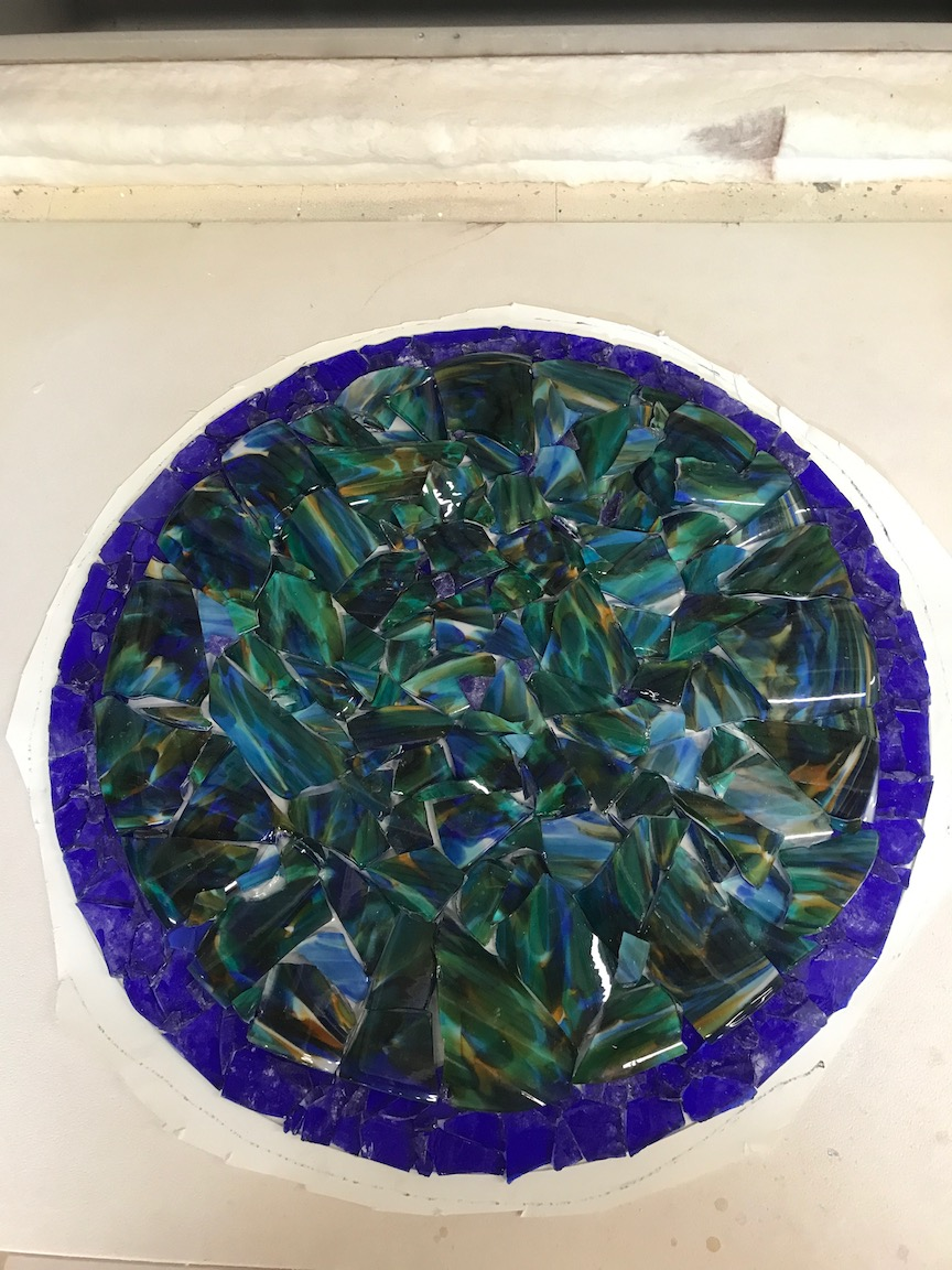 """24"""" diameter cobalt cullet for the outside rim, Sfumato blown glass, broken and placed in the middle. ready to fuse , to melt together to one piece at approximately 1500F."""
