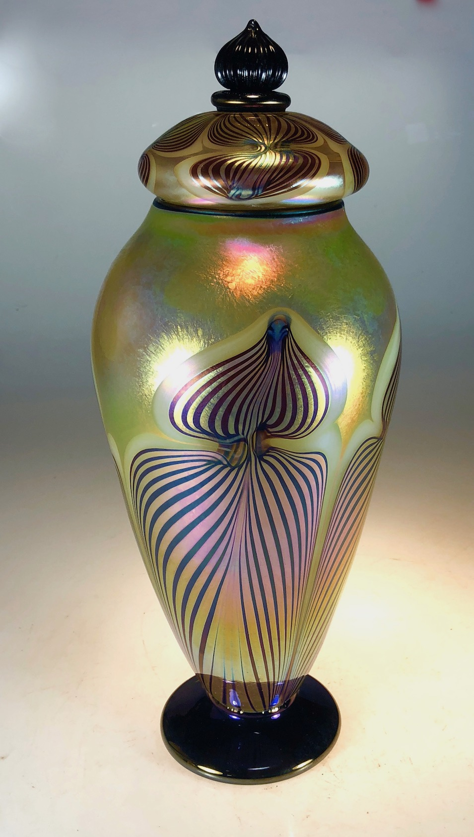Hand decorated over gold luster lidded Jar. Strini Art Glass. 2018