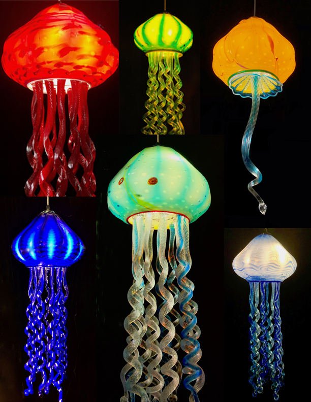 """11"""" x 28  most of them with varying tentacles.  lots of options.   buy now.  strini art glass. 808 5726283"""