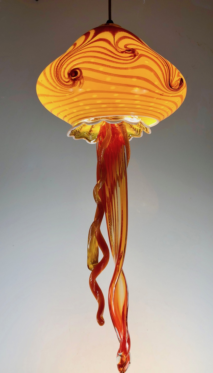 """10"""" wide x  25"""" tall,  includes LEDs and canopy ready to hang  110V   strini art glass."""