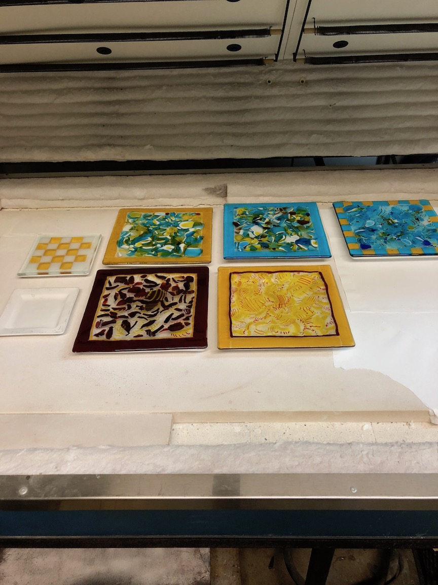 fused plates , upcycled glass, soon to be slumped into shape  strini art glass