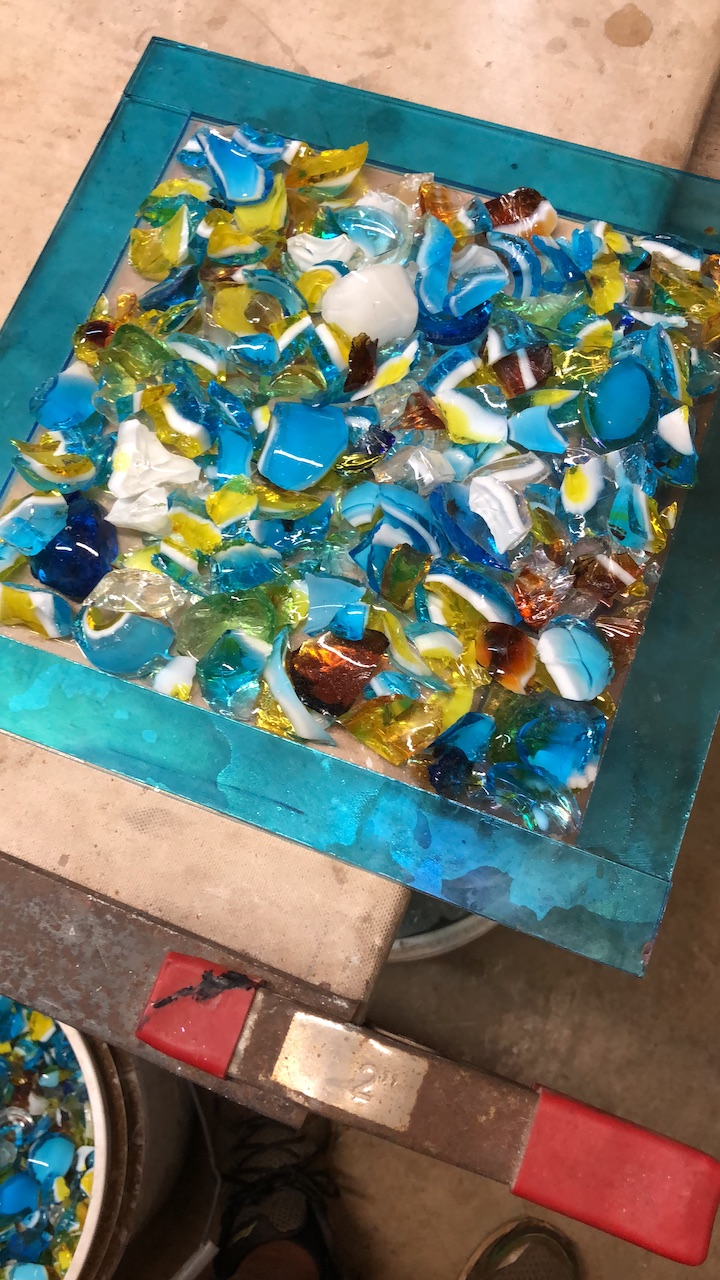 Once the chips are on its ready to fire to fusing temperatures.  Strini Art Glass