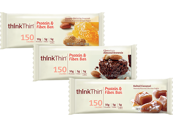 ThinkThin150-Calorie Bars - Good tasting, good texture, and smaller than most other barsCalories: 150 // Protein: 10gm // Sugar: 5gm
