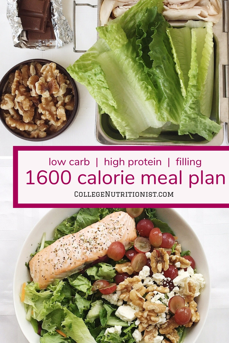 1600 Calorie High Protein Low Carb Meal Plan With Chocolate For Lunch Snack The College Nutritionist