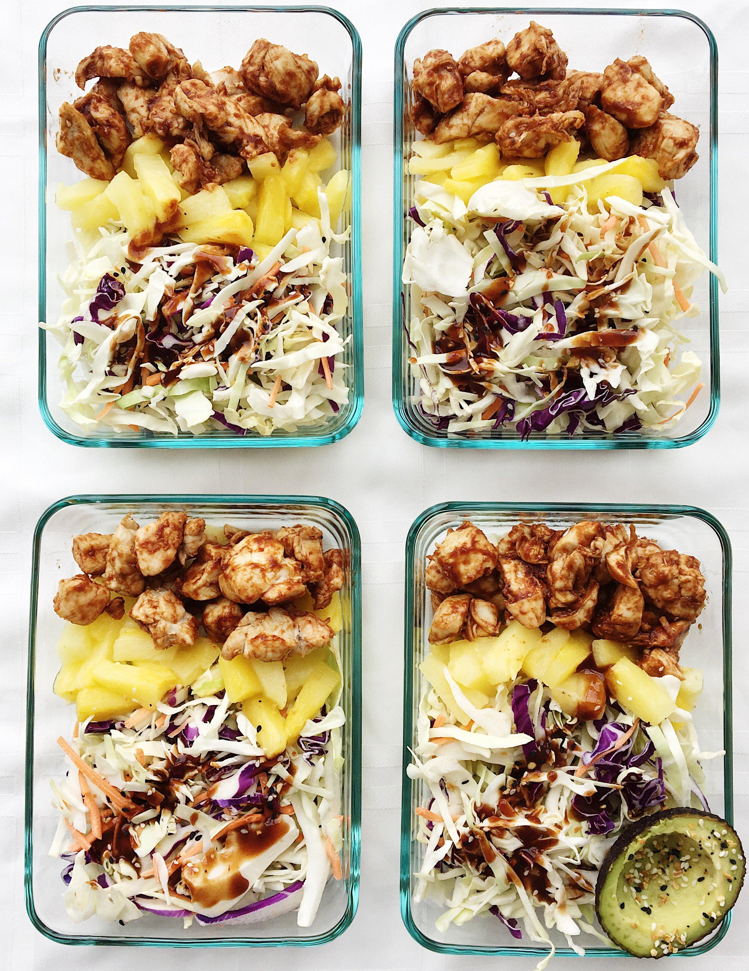college nutritionist lunch pineapple chicken bowls