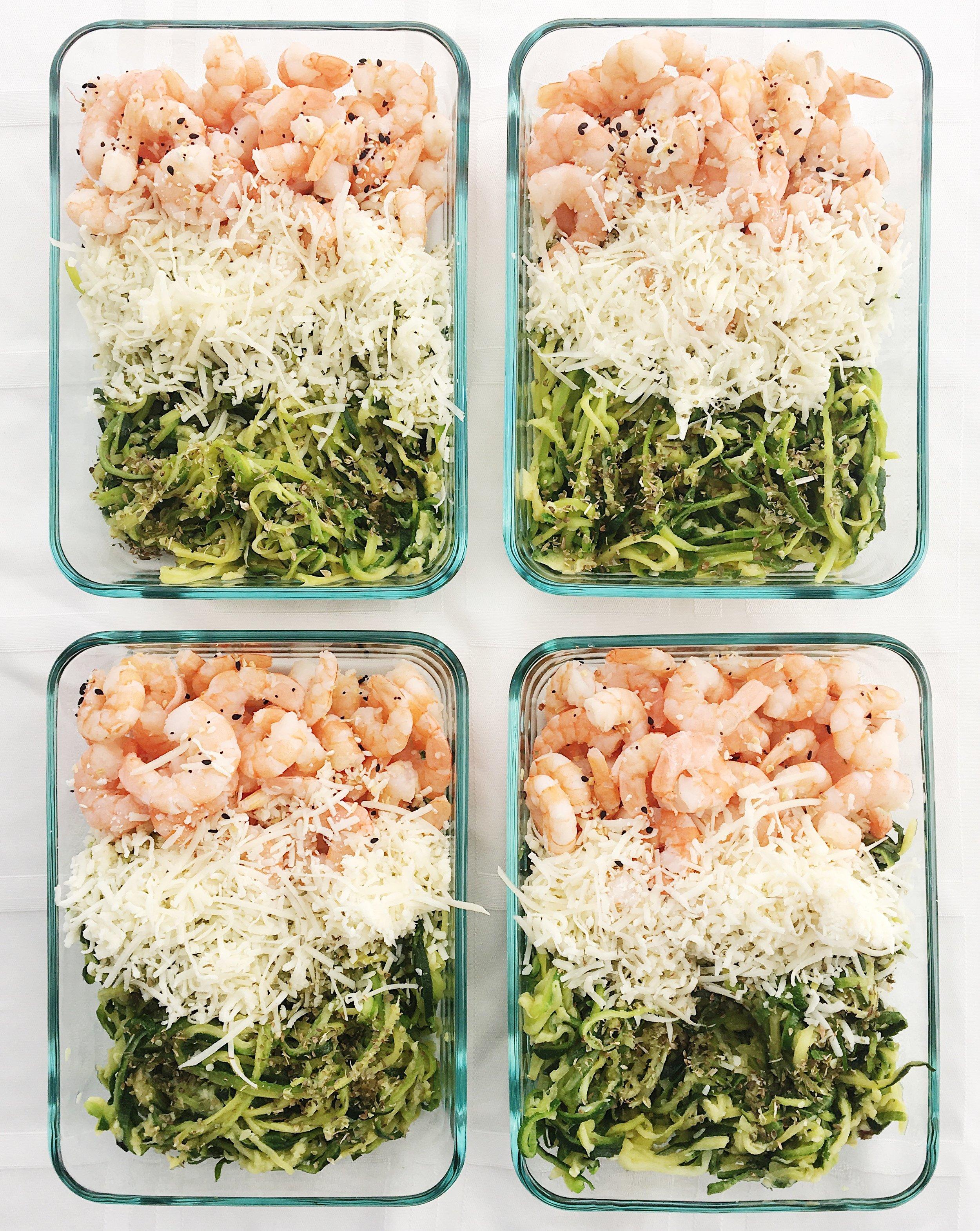 college nutritionist shrimp zoodle bake