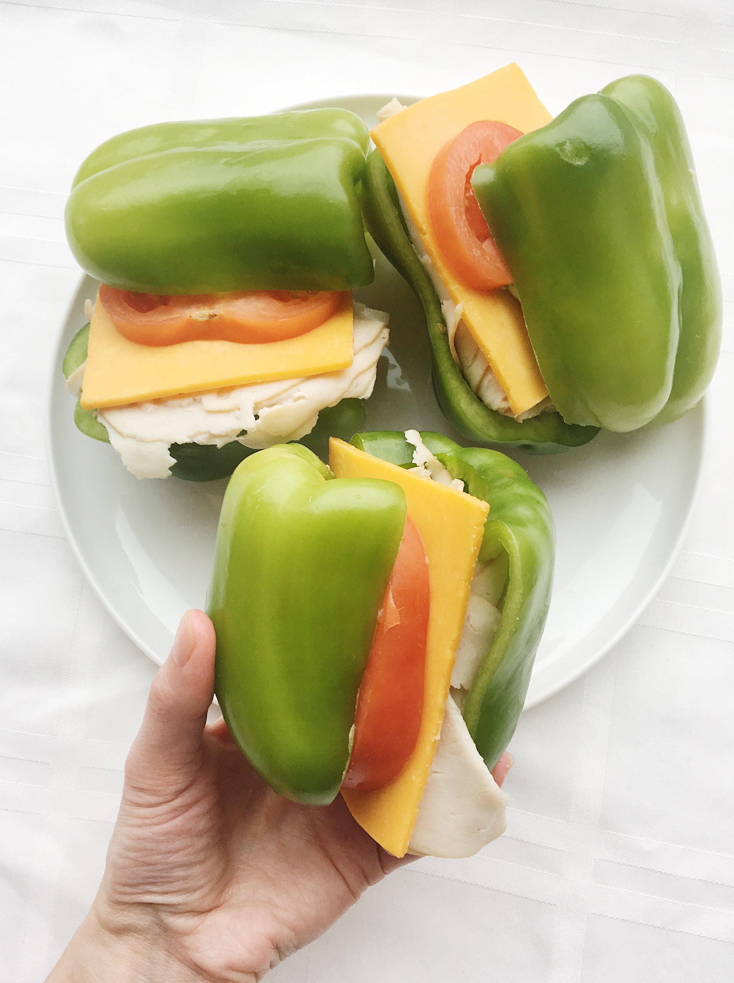 turkey cheese tomato bell pepper sandwich