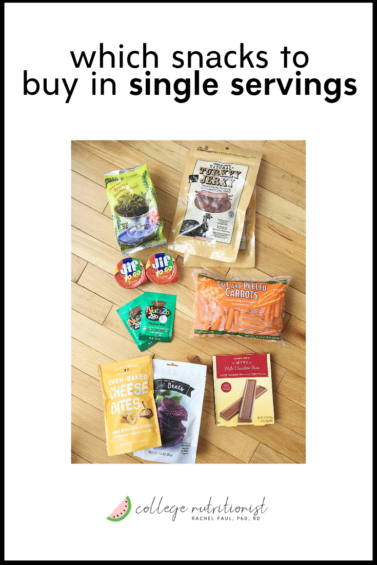 healthy individually wrapped snacks, college diet, freshman 15