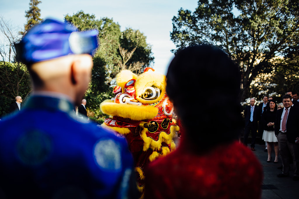 Chinese lion dance at a wedding