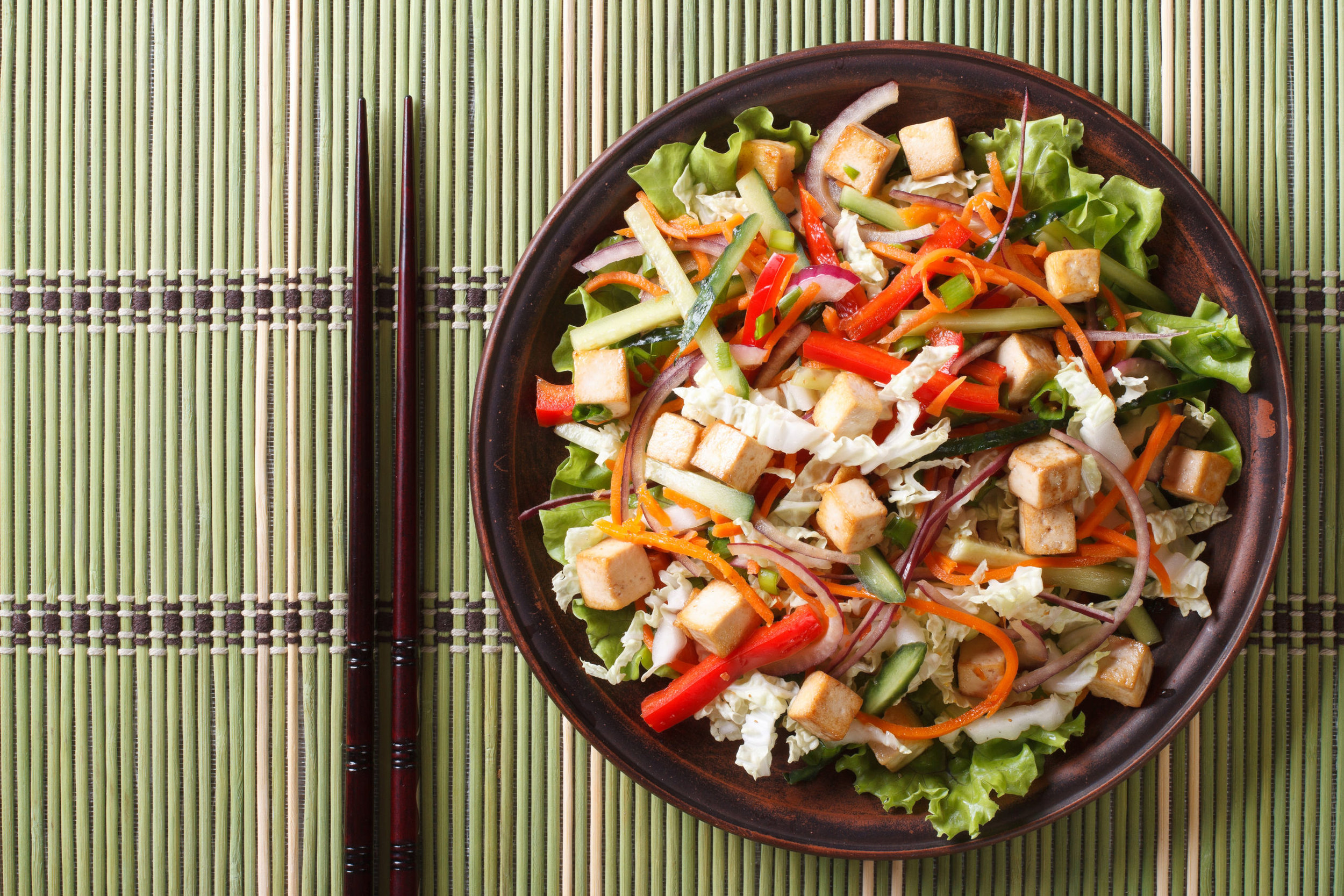 Asian salad with tofu and fresh vegetables close up on a plate.jpg
