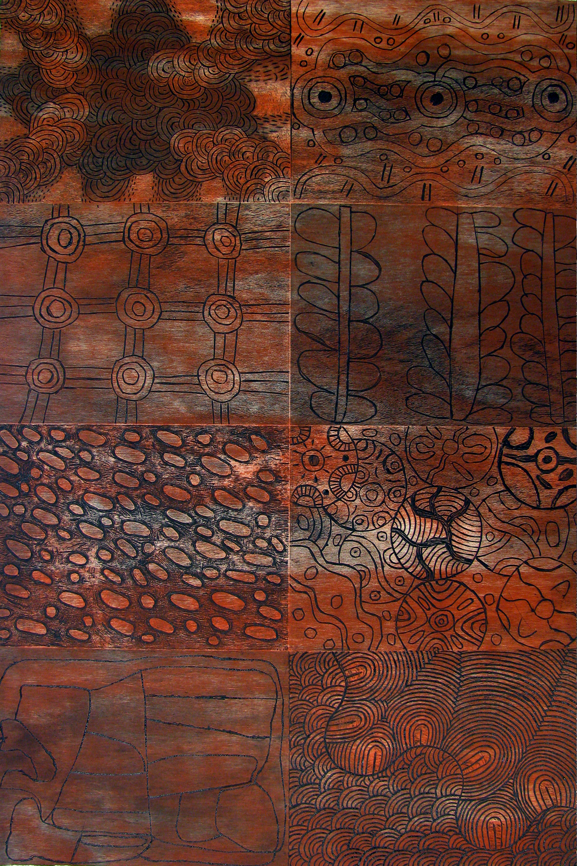Desert Mob Panel. One section with eight woodcuts. $1,400 (unframed).