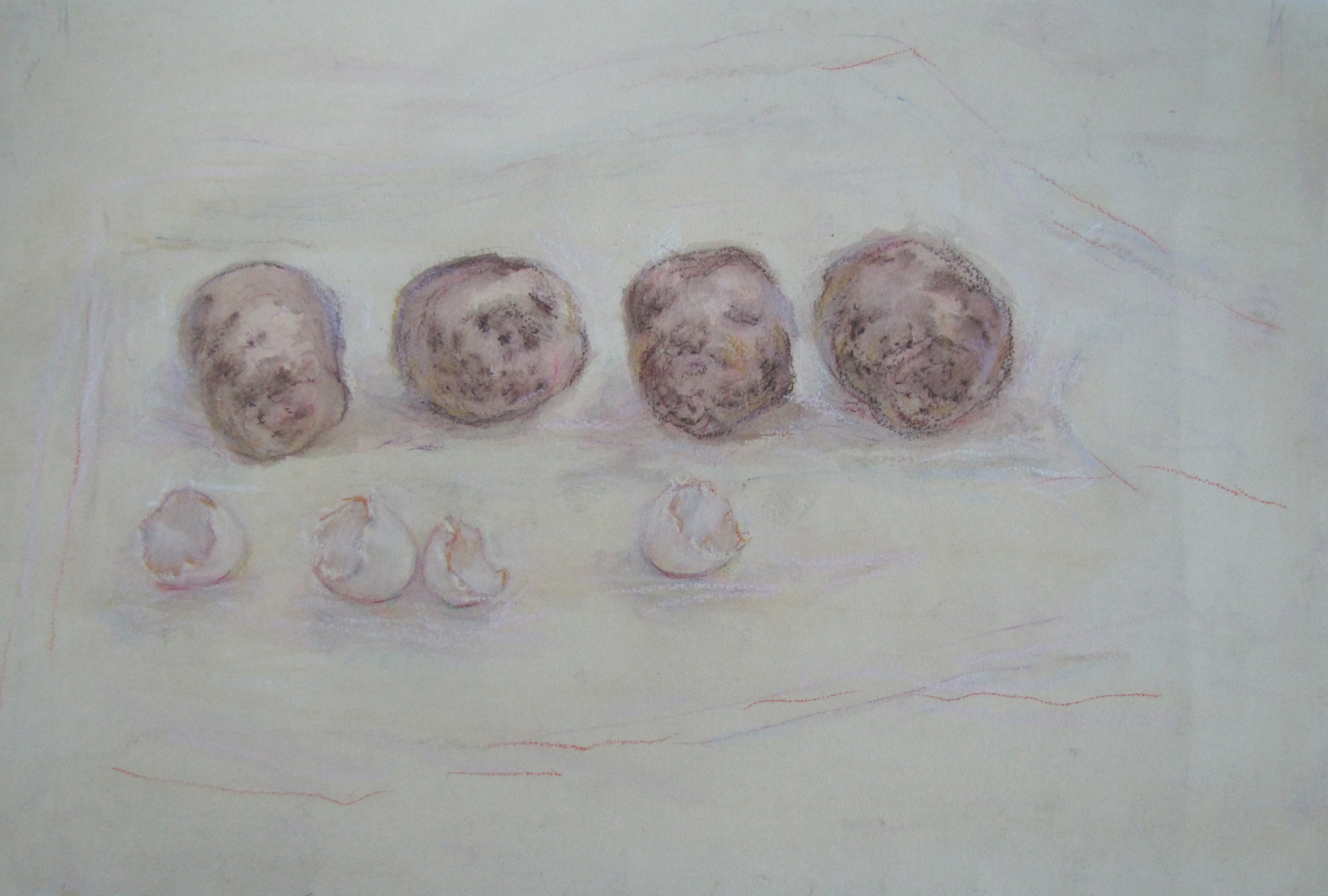 Potatoes and eggshells.  1989