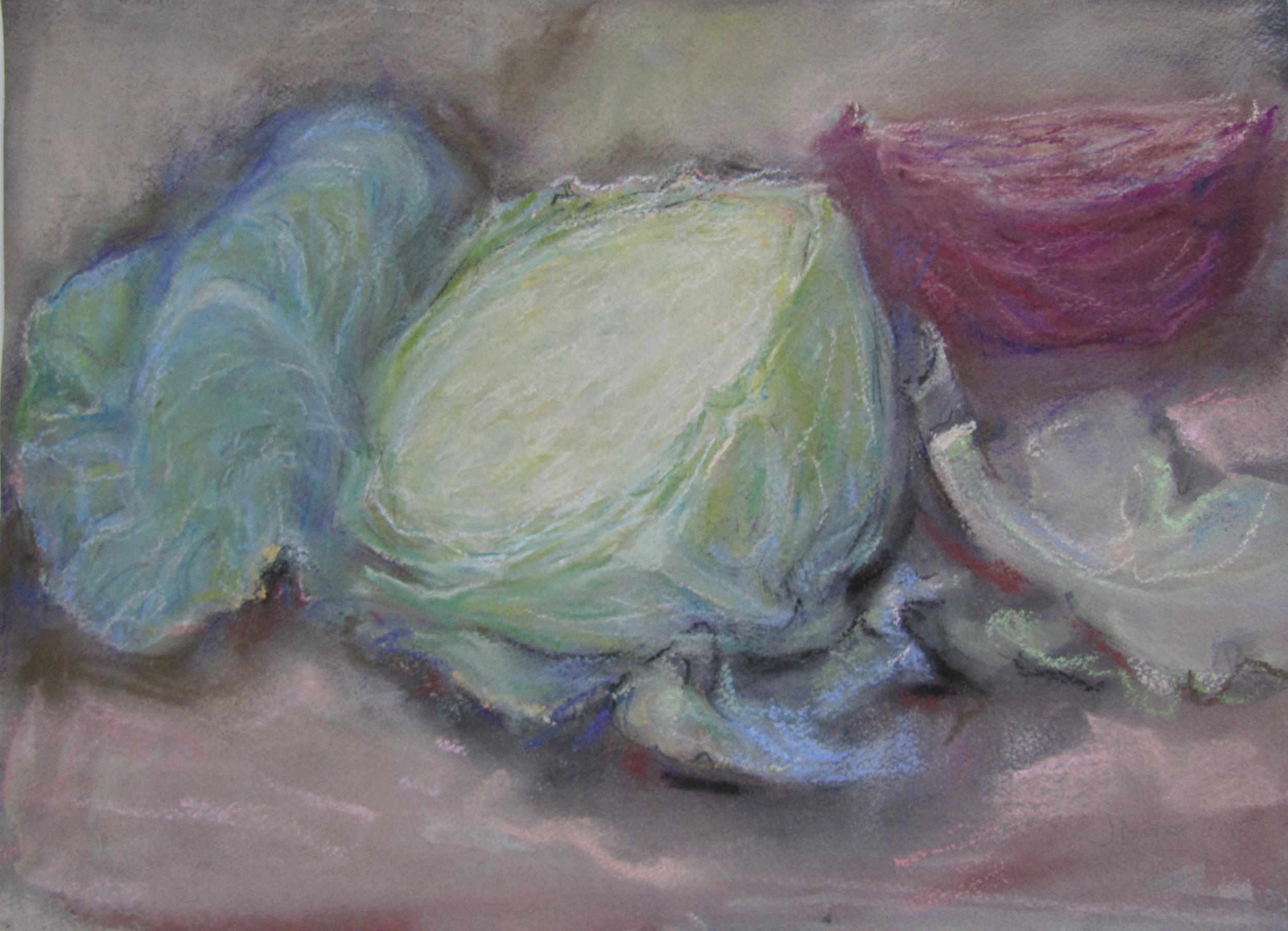 Cut half green cabbage.  2008-15