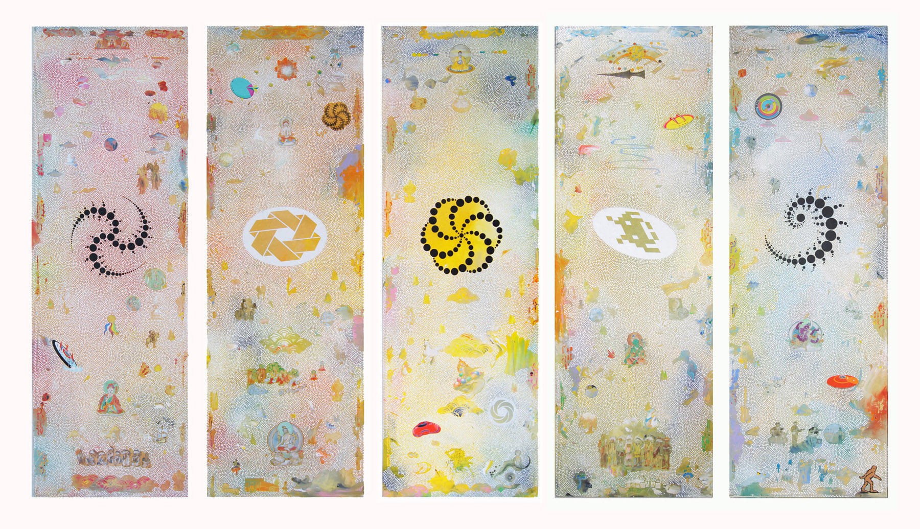 Crop circles. 2015 with Daniel Bogunovic  5 panels. acrylic on linen 180 x 61 cm each $25,000