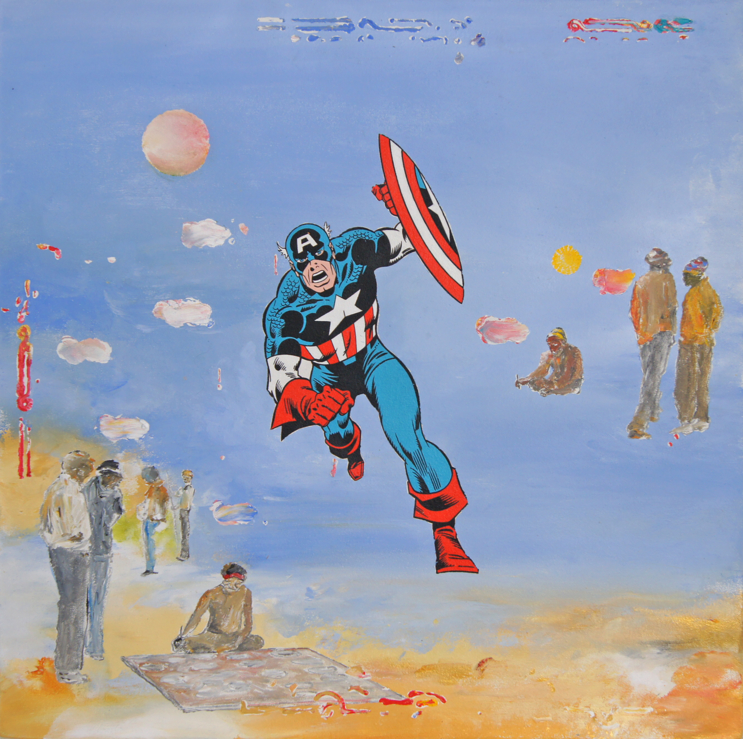 Captain America. 2016 with Daniel Bogunovic acrylic on canvas 61 x 61 cm $2,200