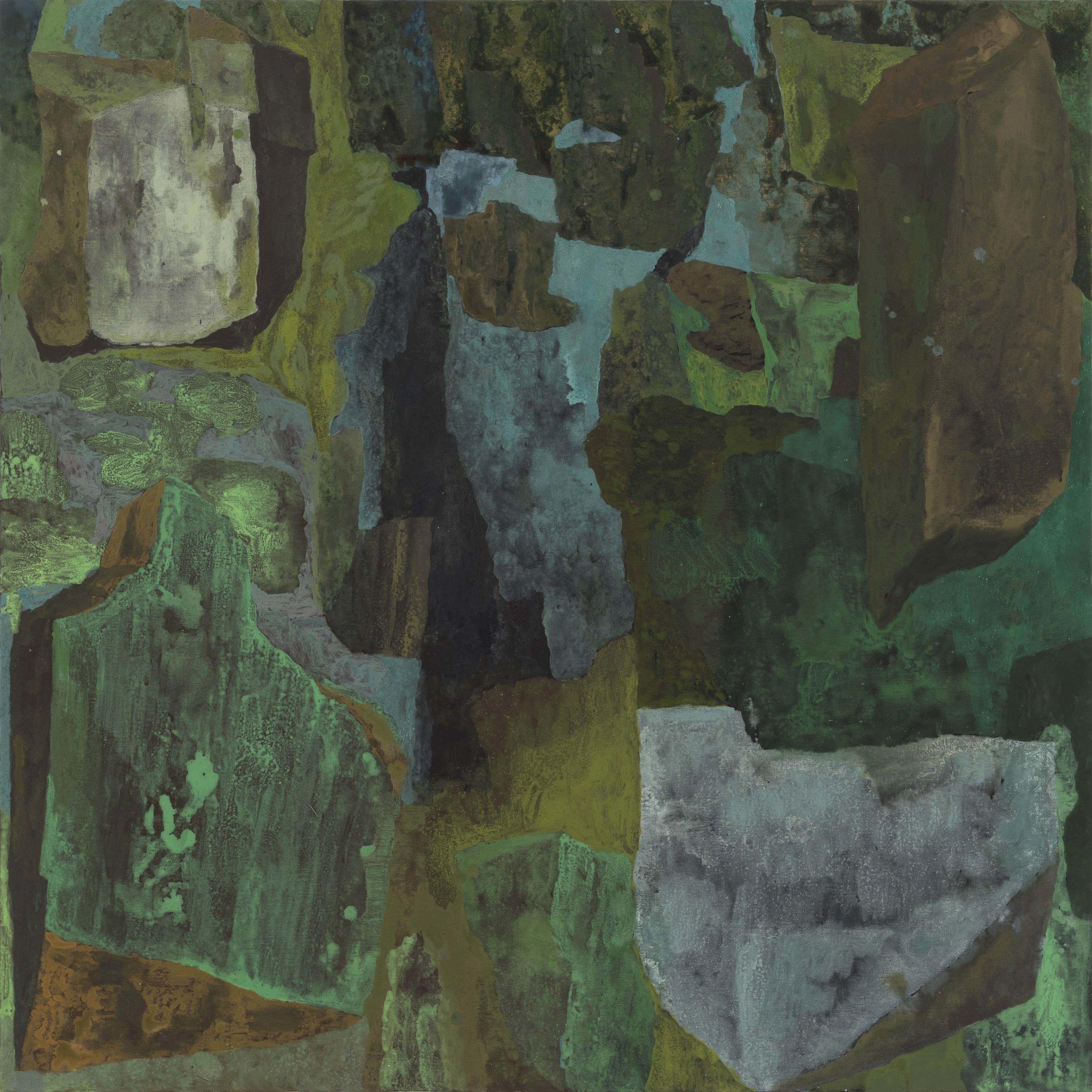 Vegetable, mineral, dark matter. 2017, acrylic on linen. 152 x 152 cm. $9,900