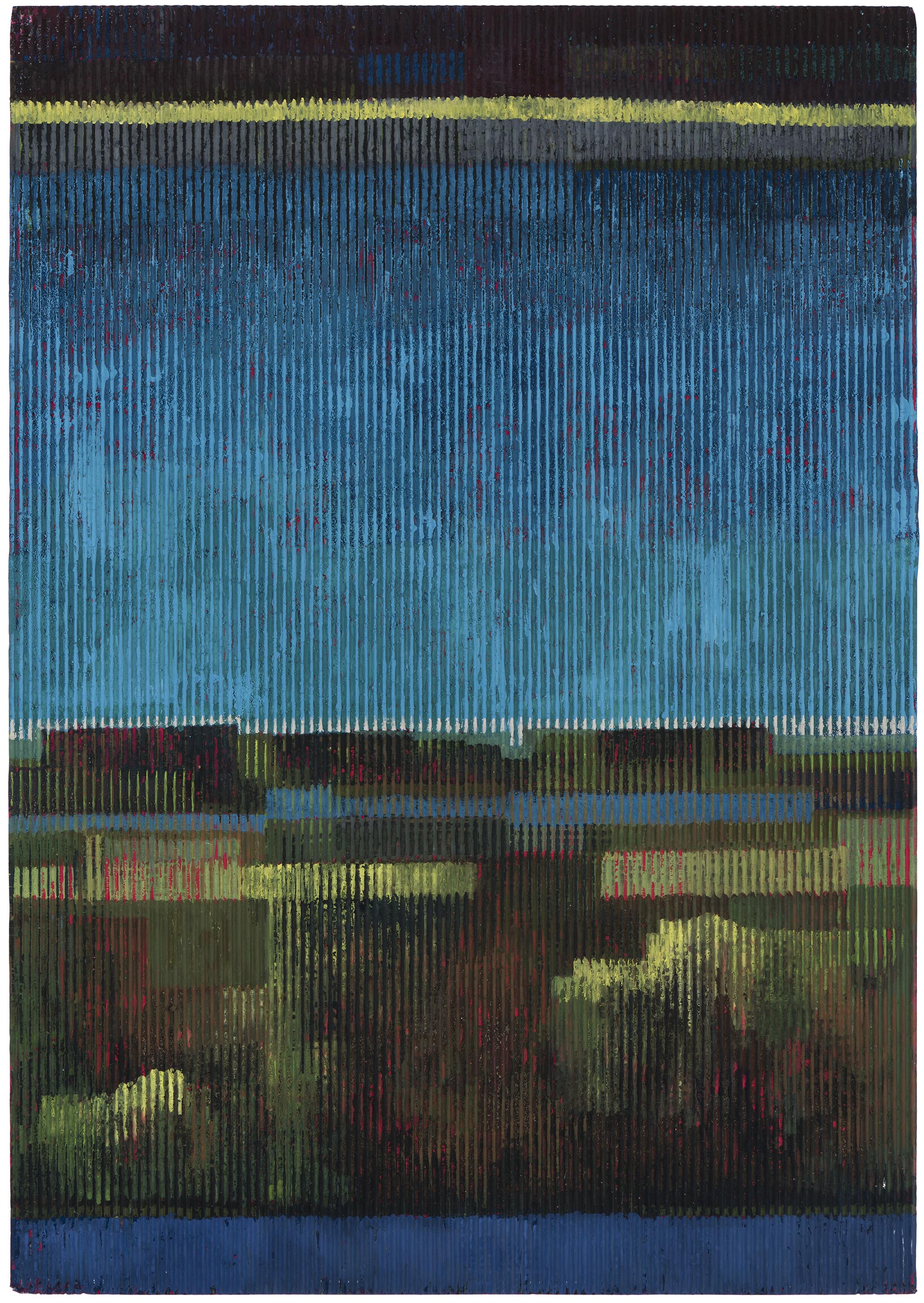 Midsummer night 3 (with yellow). 2015. gouache and acrylic on corrugated card. 50 x 35 cm. SOLD