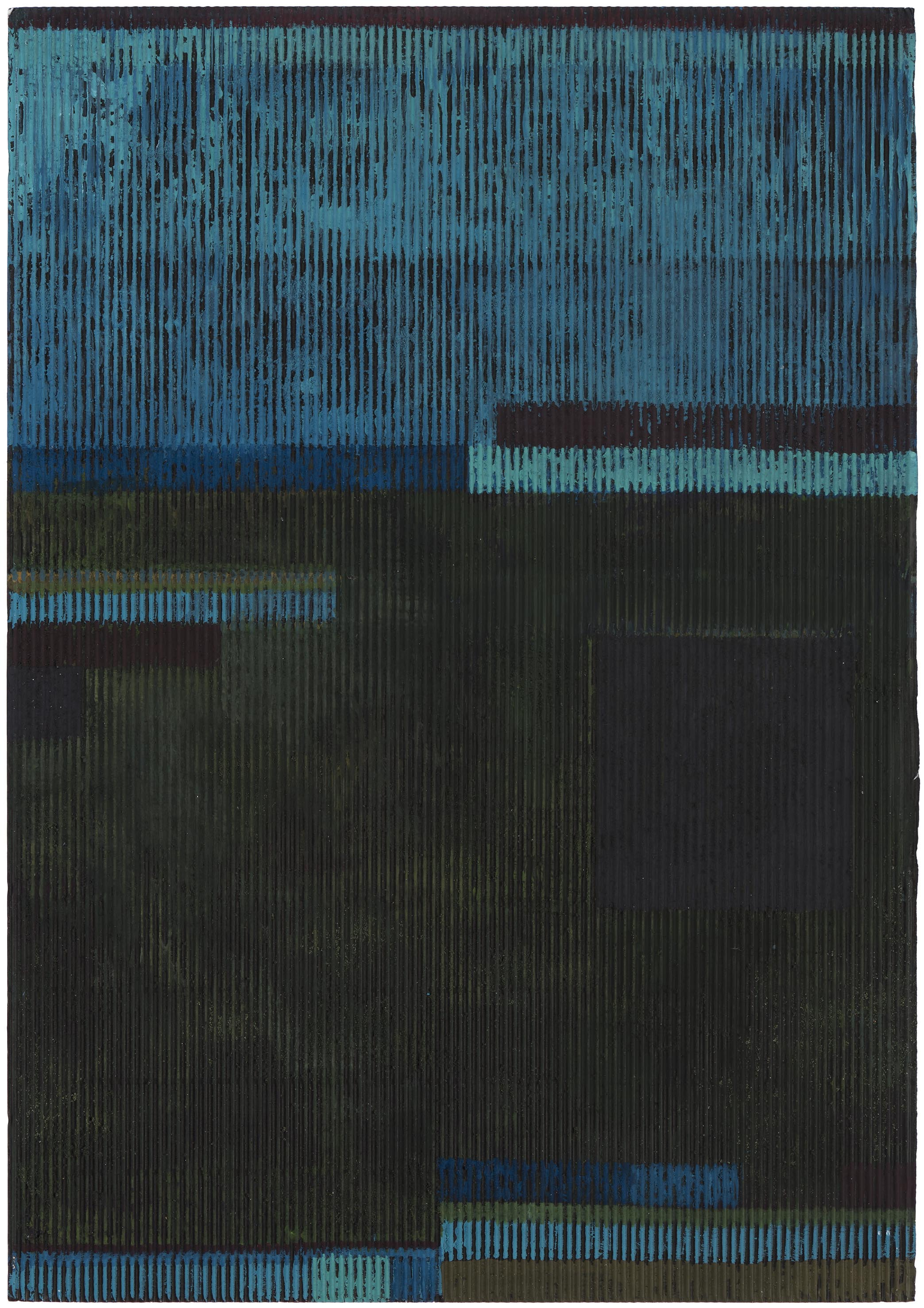 Midsummer night 2 (the blues). 2015. gouache and acrylic on corrugated card. 50 x 35 cm.$1,500