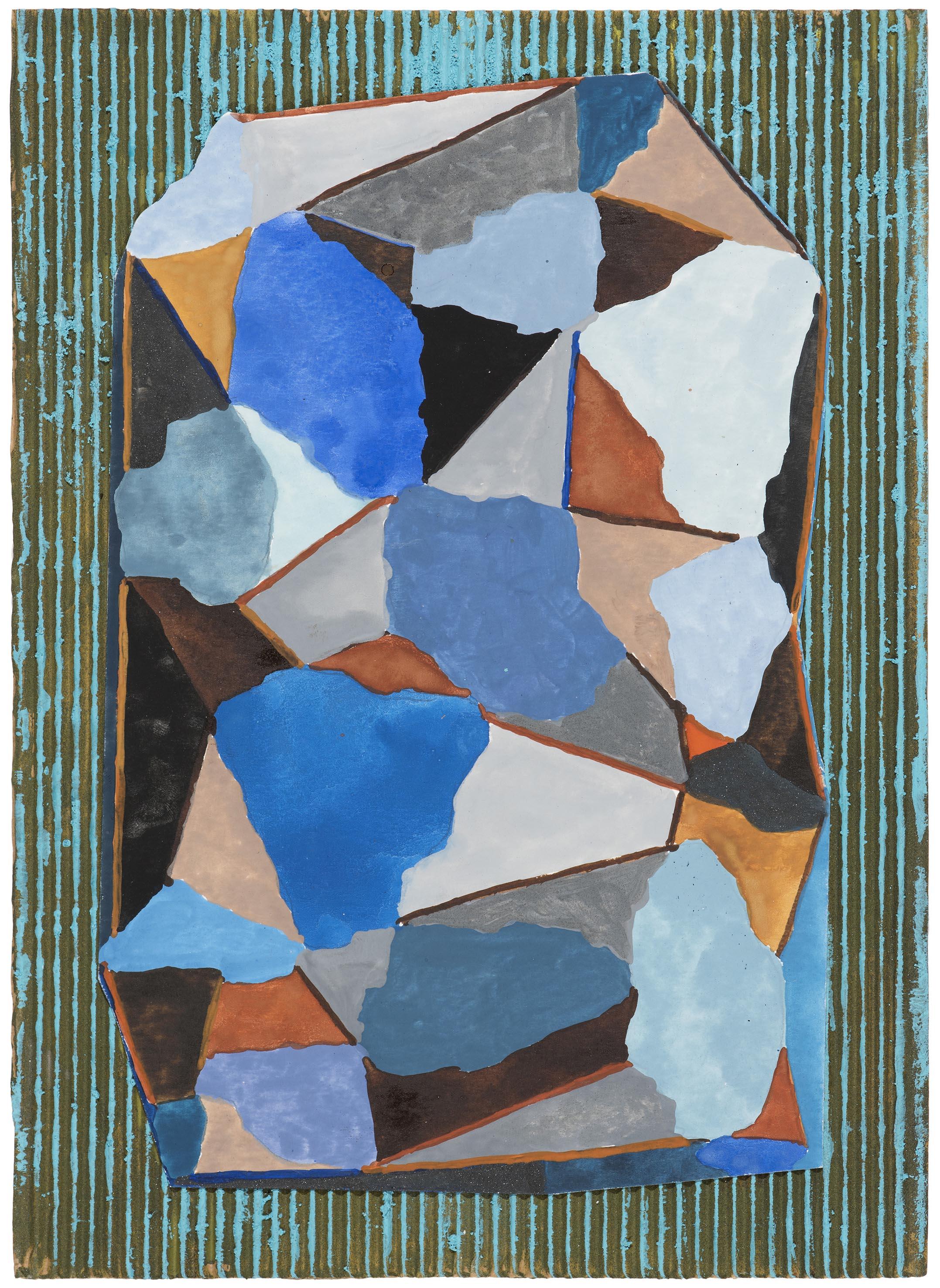 Geo in blue. 2015.  gouache collage.  37 x 28.5 cm. SOLD