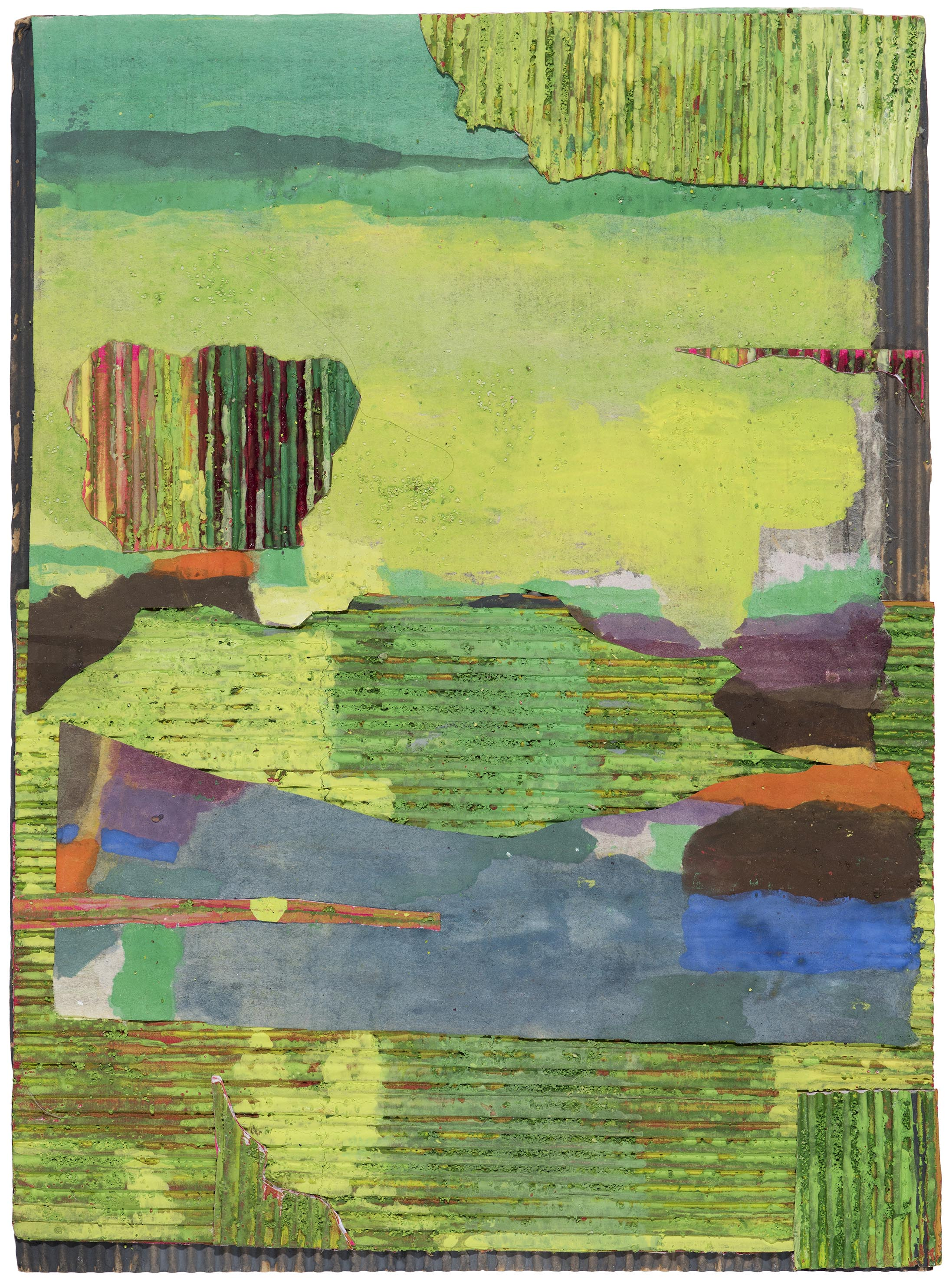 Collage in green. 2015.  gouache and acrylic collage with corrugated card.  37 x 28.5 cm SOLD