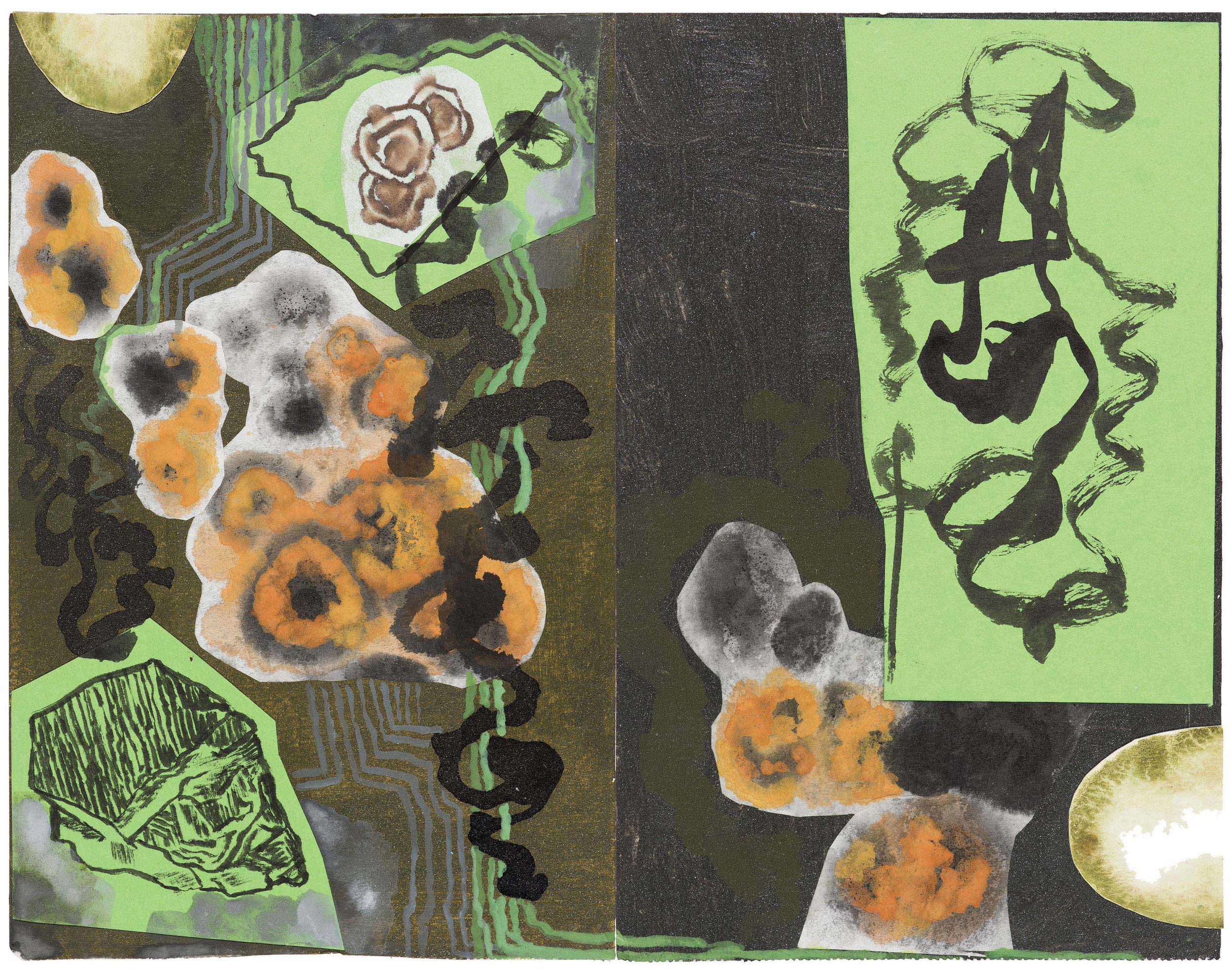 A place of lichens and mosses. 2015.  ink, gouache and collage  33.5 x 40 cm. $900