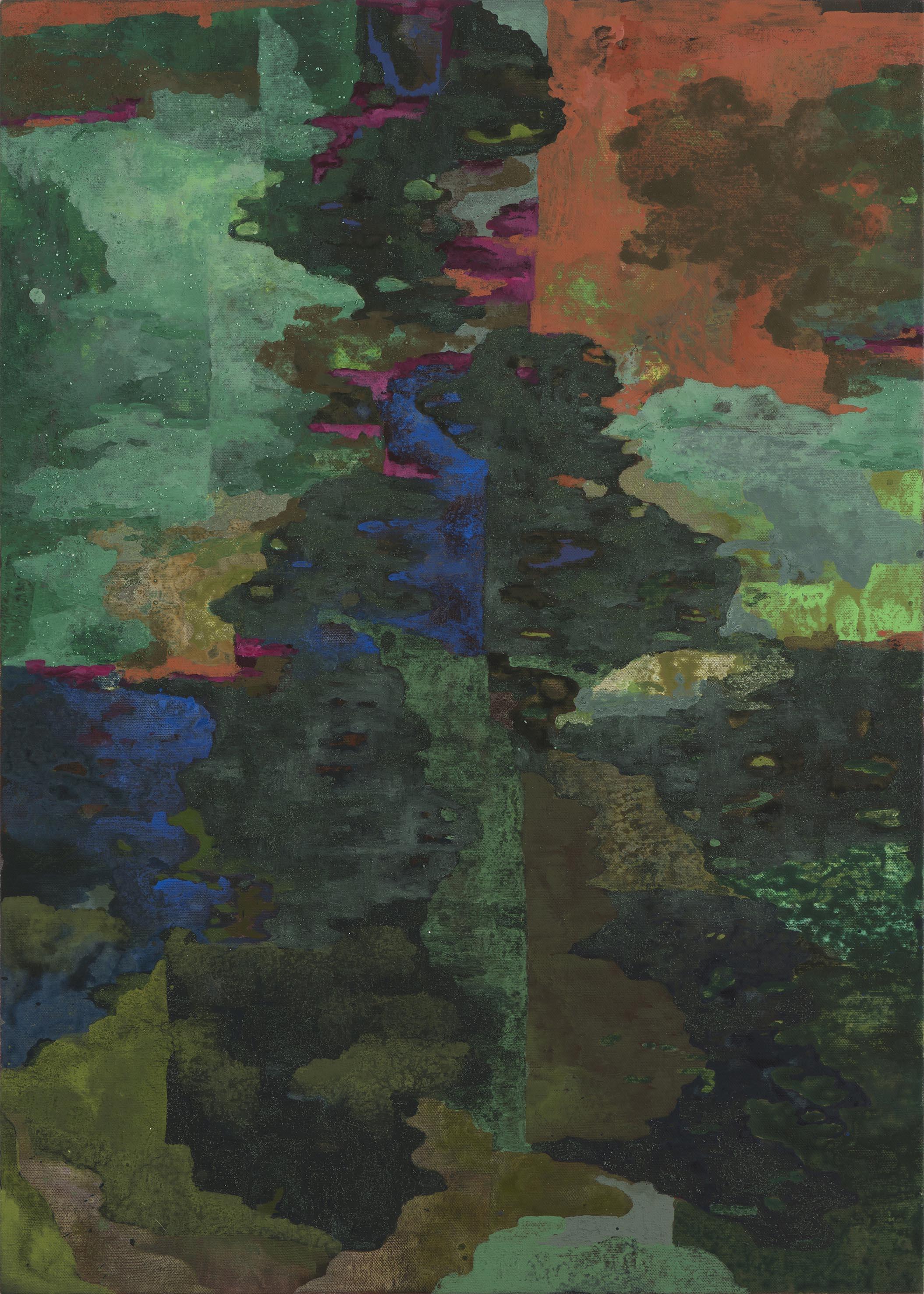 The green north. 2017, acrylic on  linen, 109 x 77 cm. $3,800