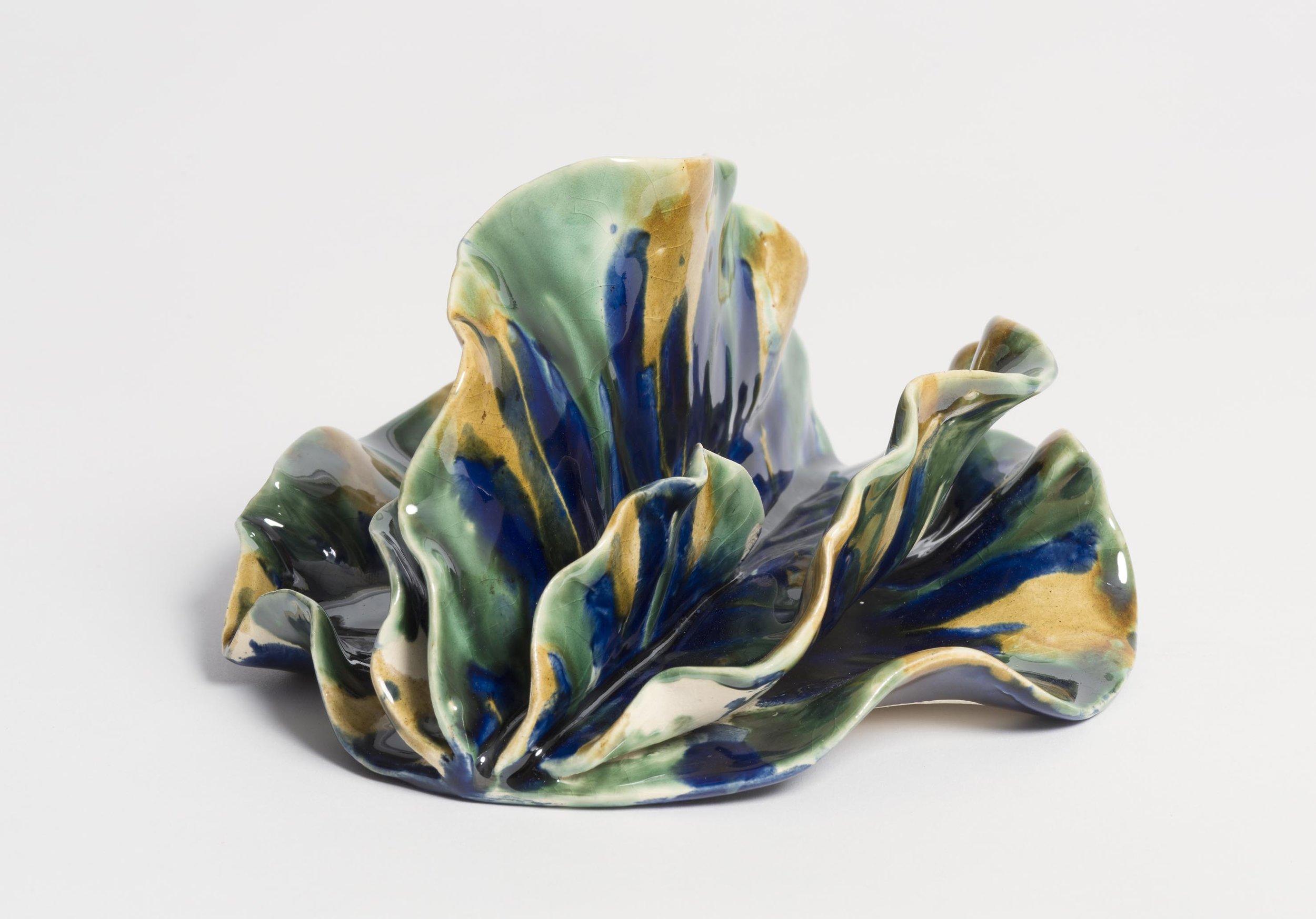 Shiny, frilly thing.  2017. Earthenware, glazed ceramic 17x15x11 cm.$550